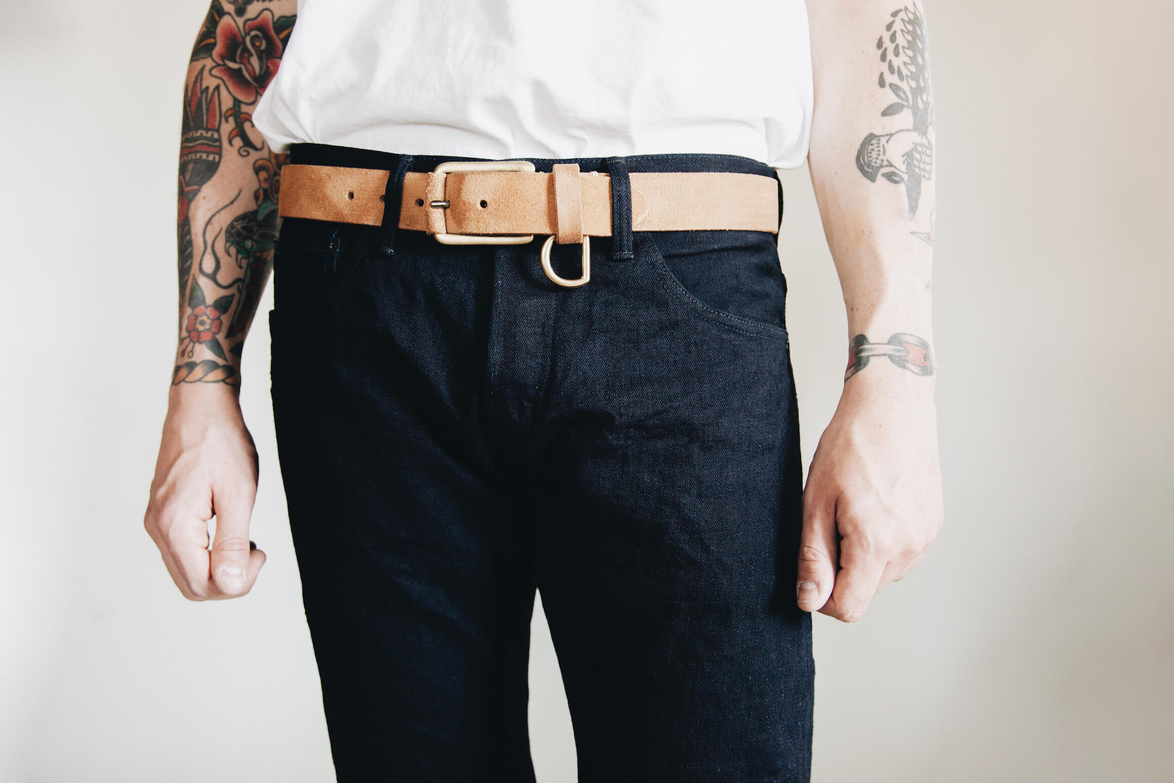 Tanuki IDHT Double Indigo 15oz jeans with yuketen belt on body