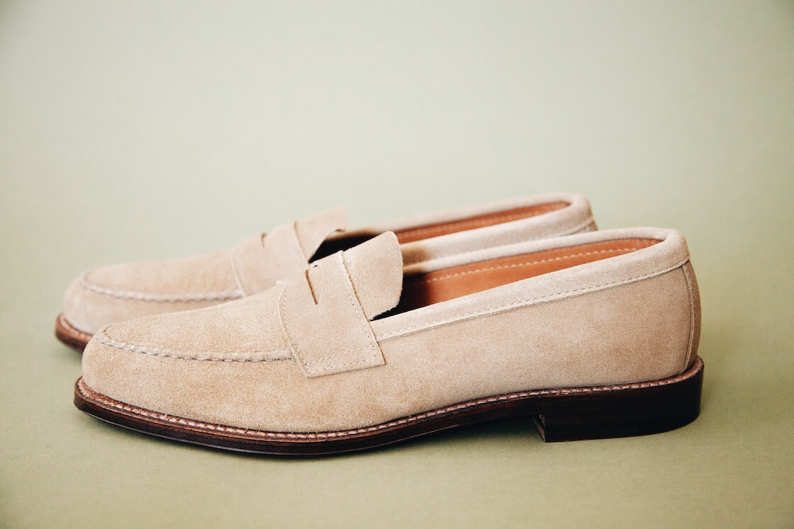 Alden Penny Loafers in tan suede