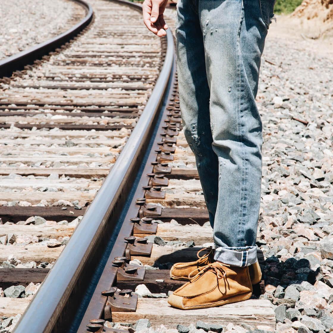 yuketen yuks type 4 mocassin boots with LVC jeans on body