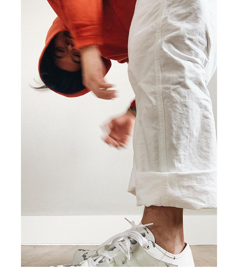 visvim amplus hoodie, orslow painter pants and needles japan asymmetric ghillie sneakers on body