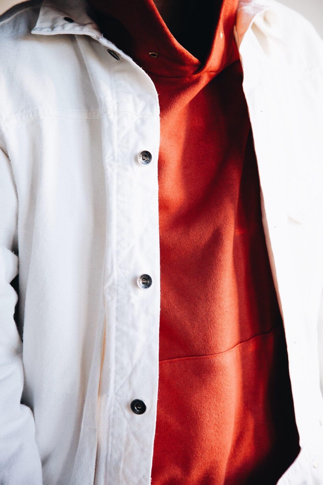 engineered garments trucker jacket and visvim amplus hoodie PO on body