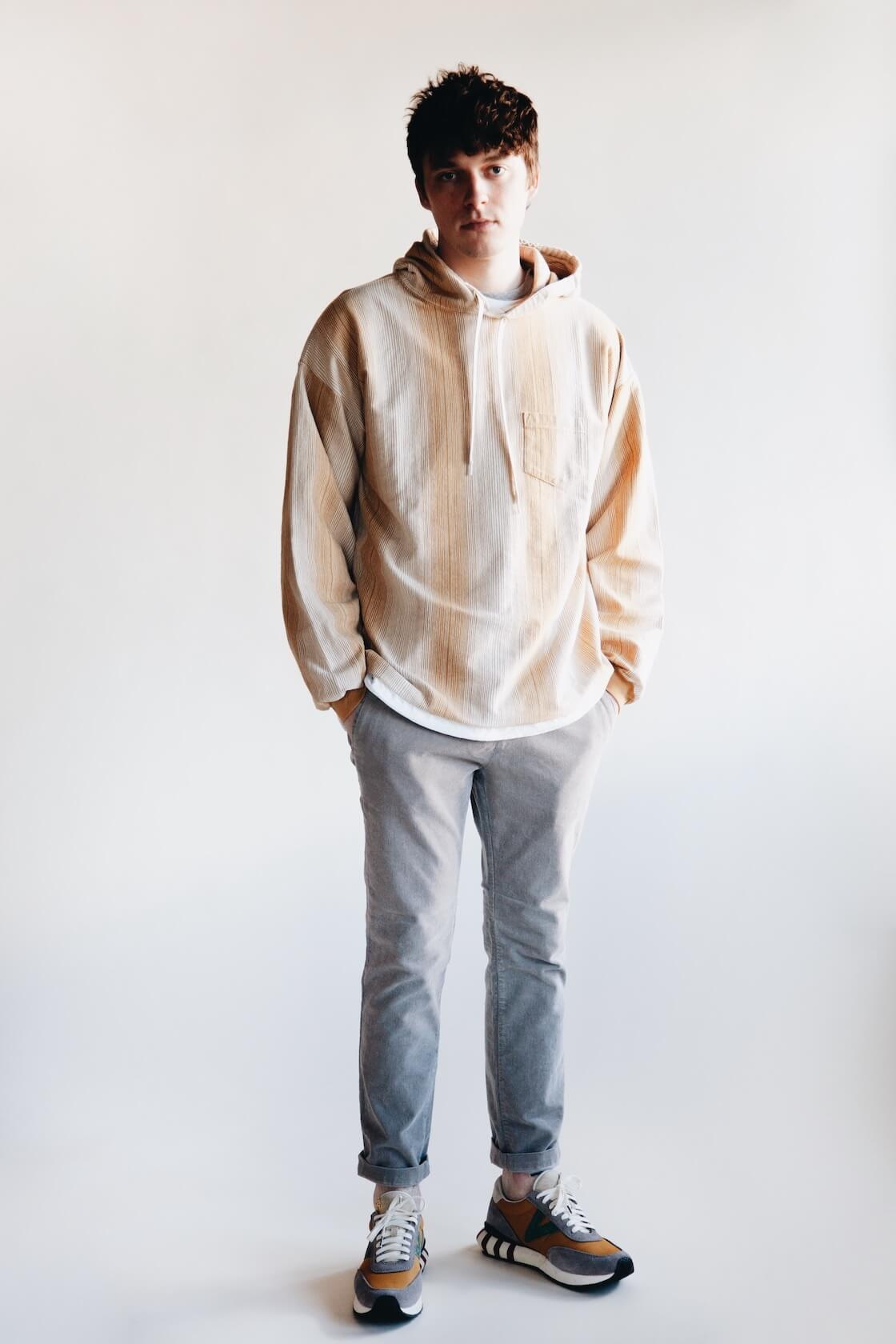 remi relief native print striped hoodie, remi relief stretched corduroy slacks and visvim attica trainer shoes on body