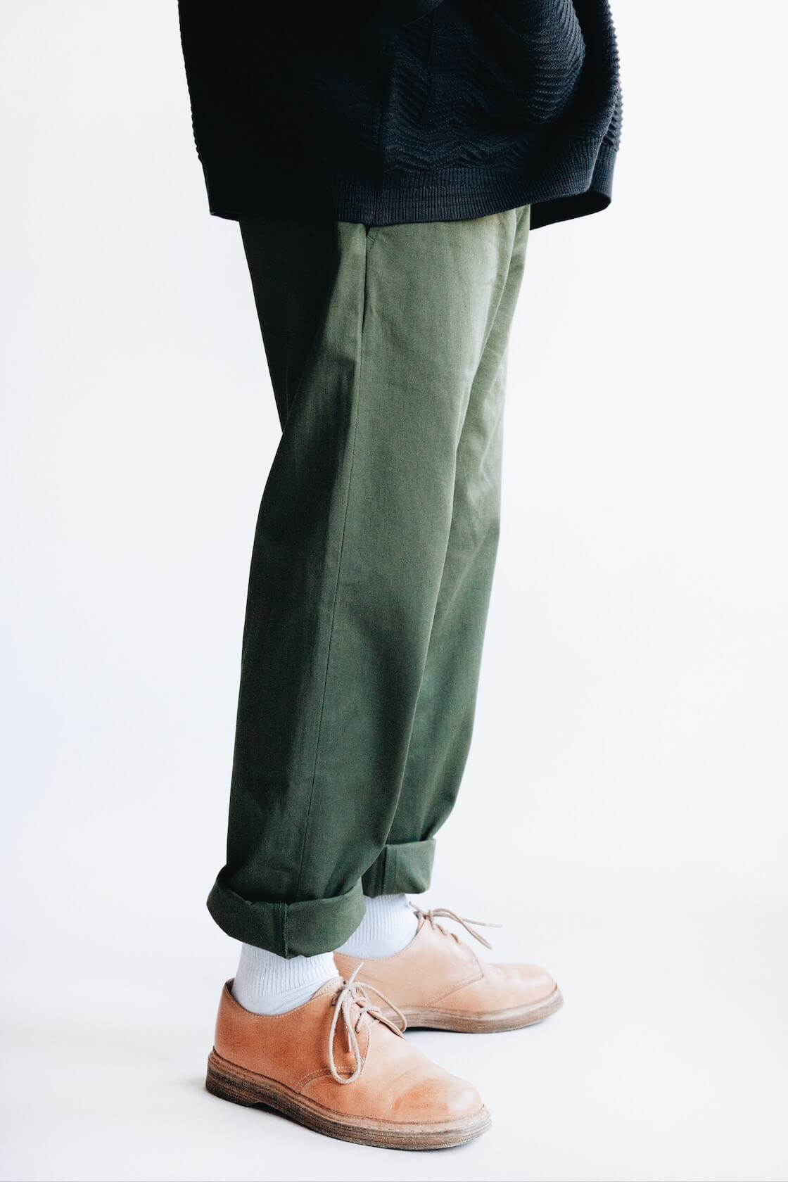 Shunto Hanten Knit from Yashiki, Military Chinos from Universal Works and MIP-21's from Hender Scheme on body