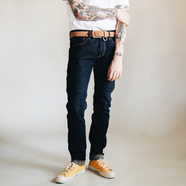 Tanuki NT 16.5oz Natural jeans on body
