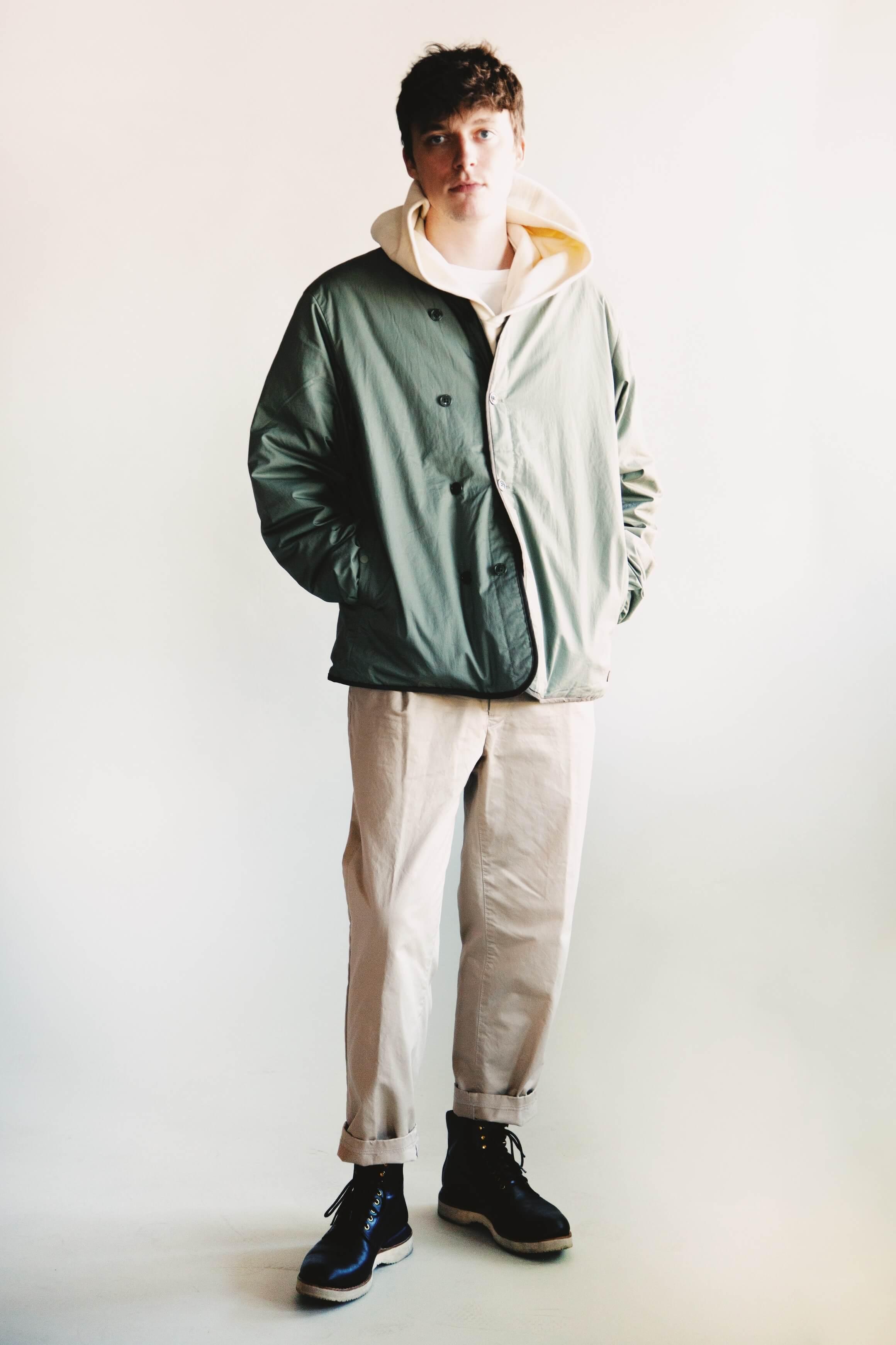Nanamica down cardigan, visvim amplus hoodie po, beams plus single pleat twill pants and visvim virgil boots folk on body