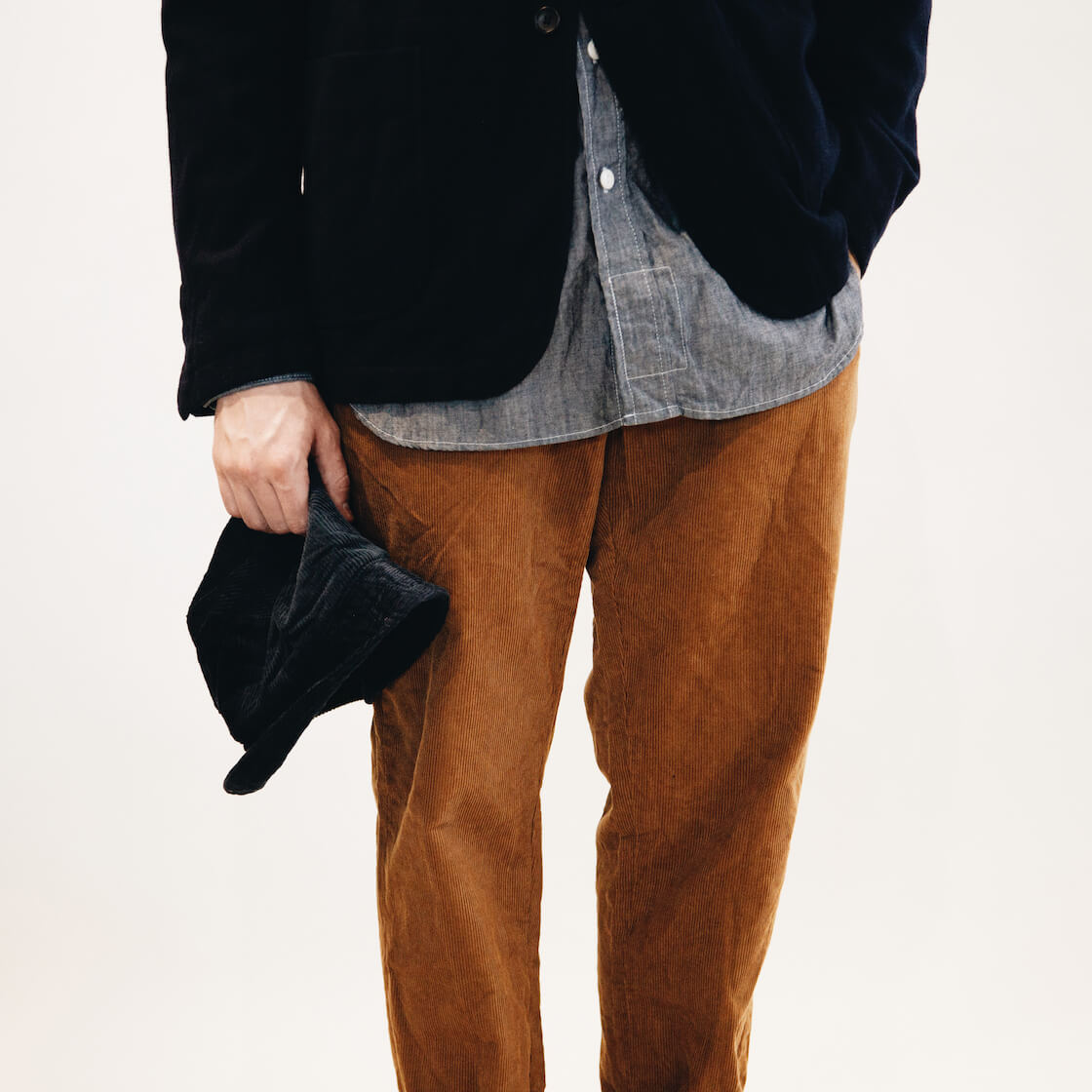 engineered garments new bedford jacket, bucket hat, long scarf, and work shirt, and andover pant on body