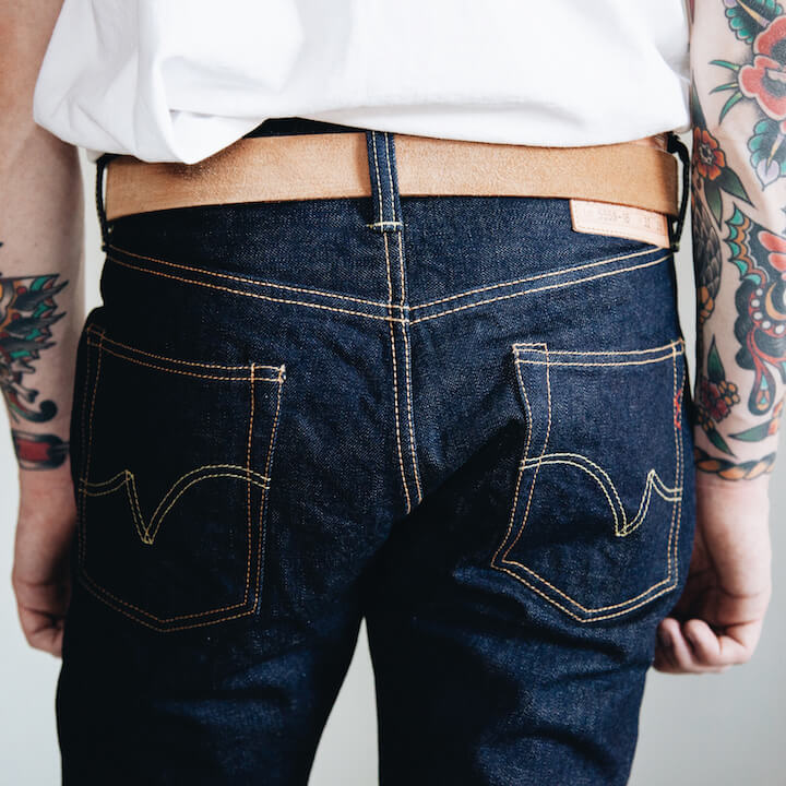Iron Heart 555 16oz. Classic Denim jeans back pocket detail on body