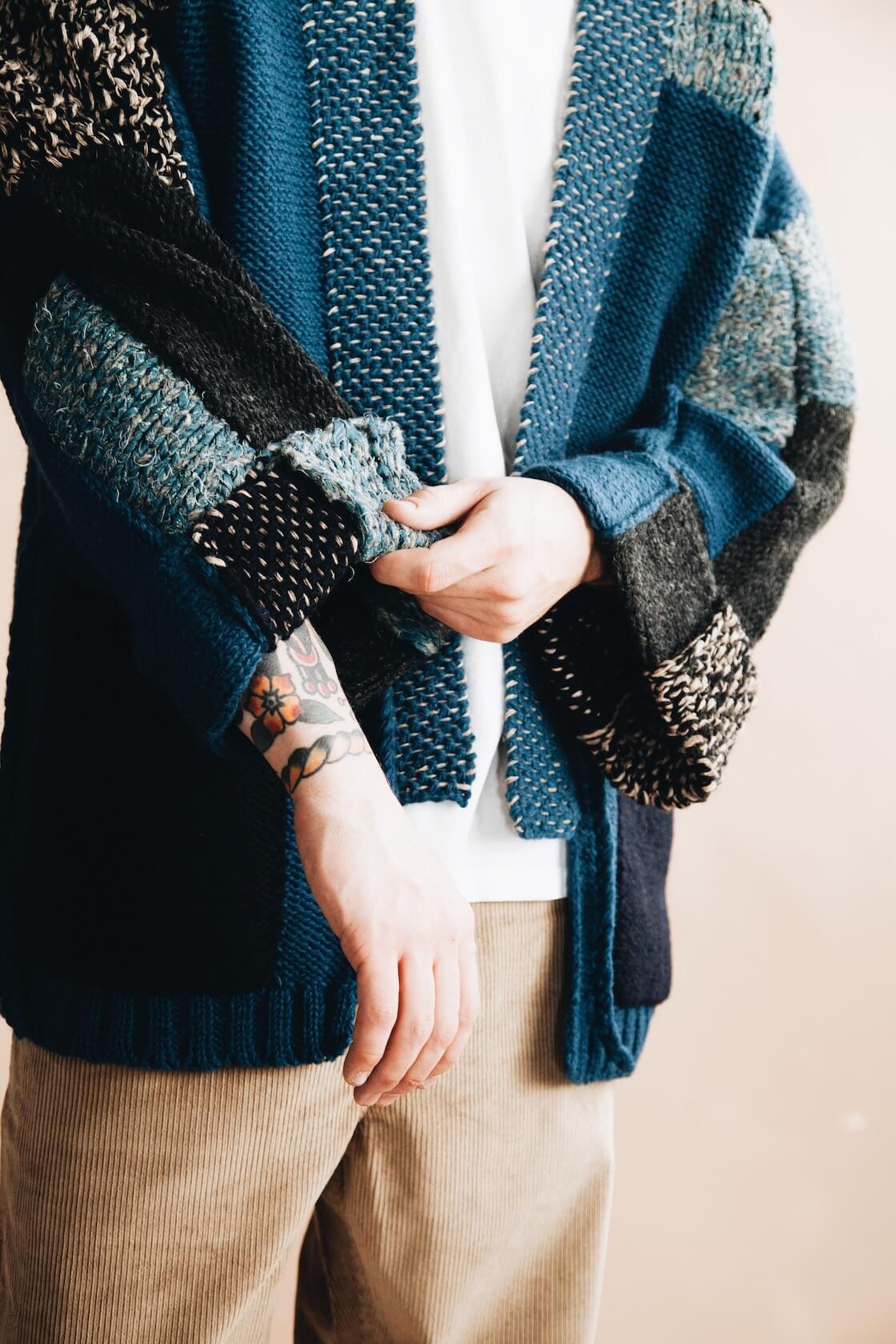 kapital hand knit tugihagi kakashi cardigan on body