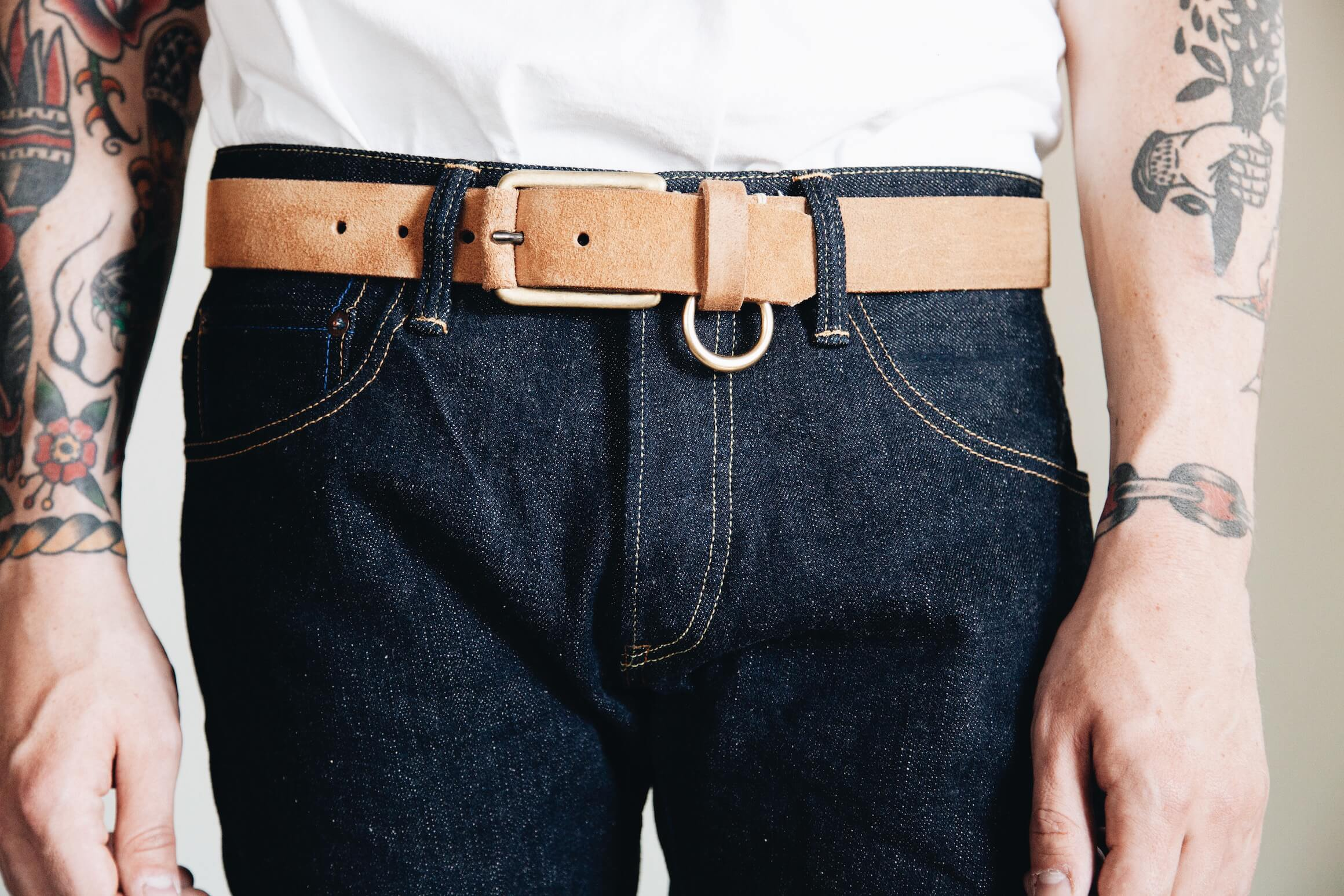 Tanuki NT 16.5oz Natural jeans and yuketen belt on body