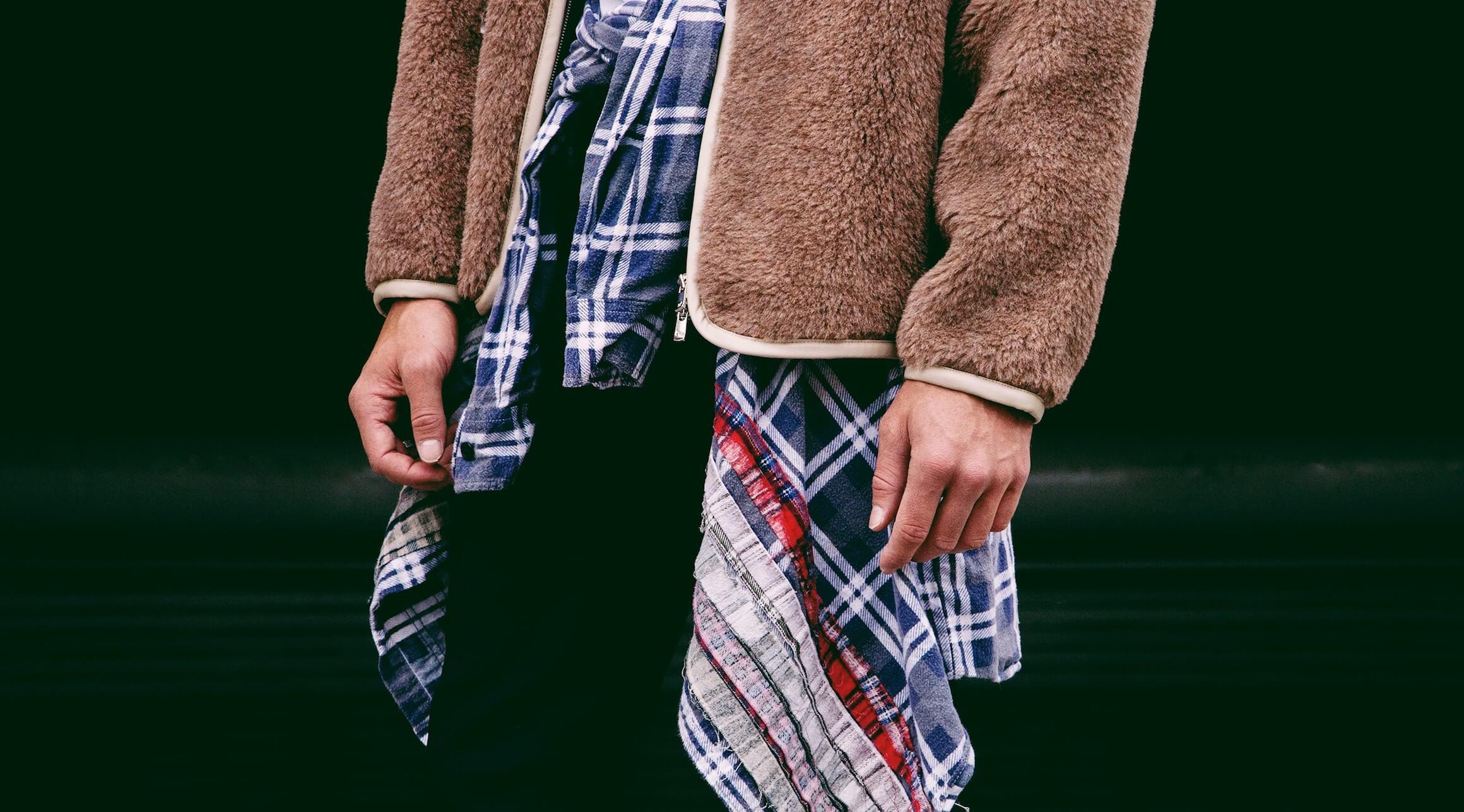 Needles clothing japan shaggy shearling jacket on body 1