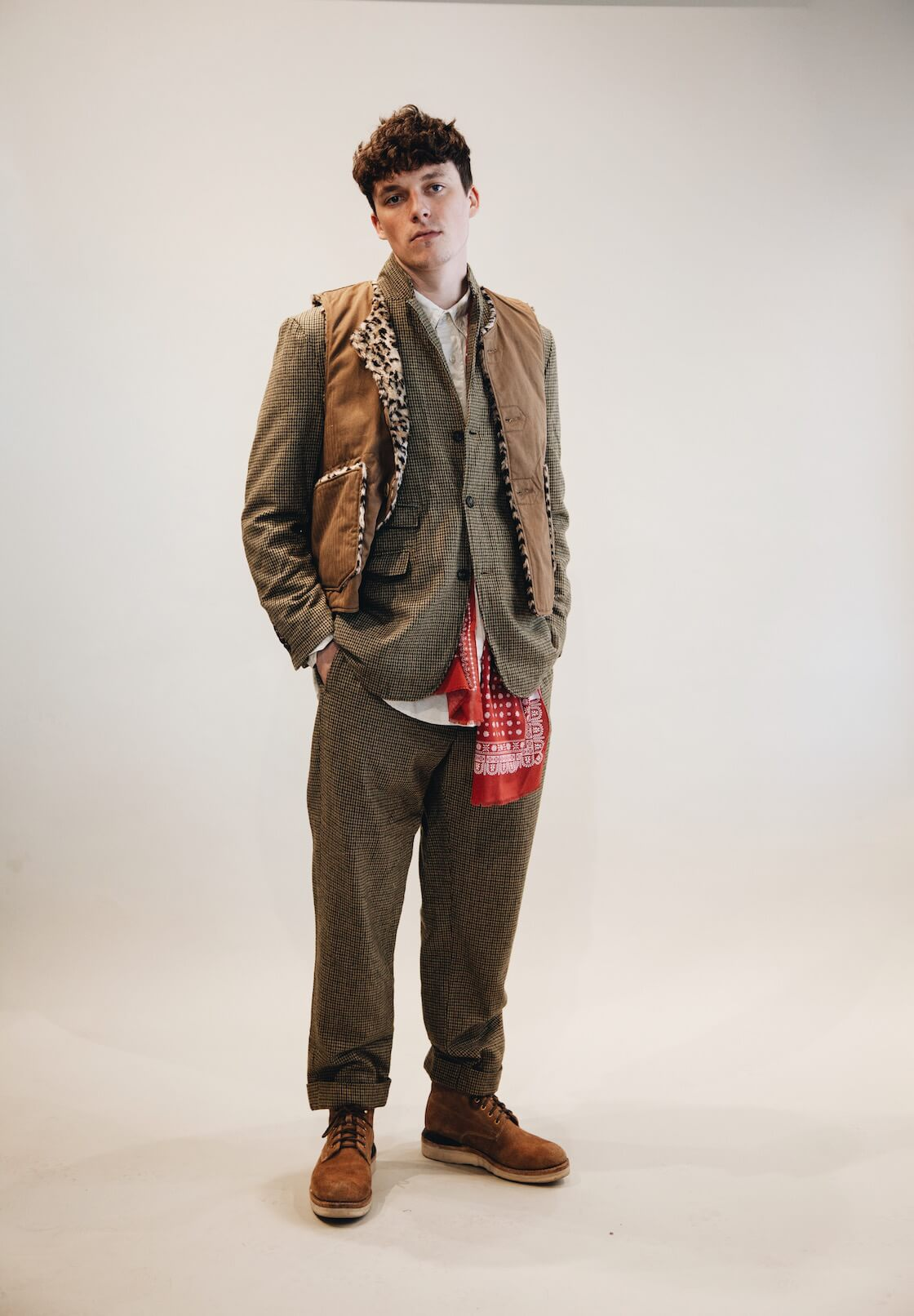 engineered garments andover jacket and pants, and over vest on body
