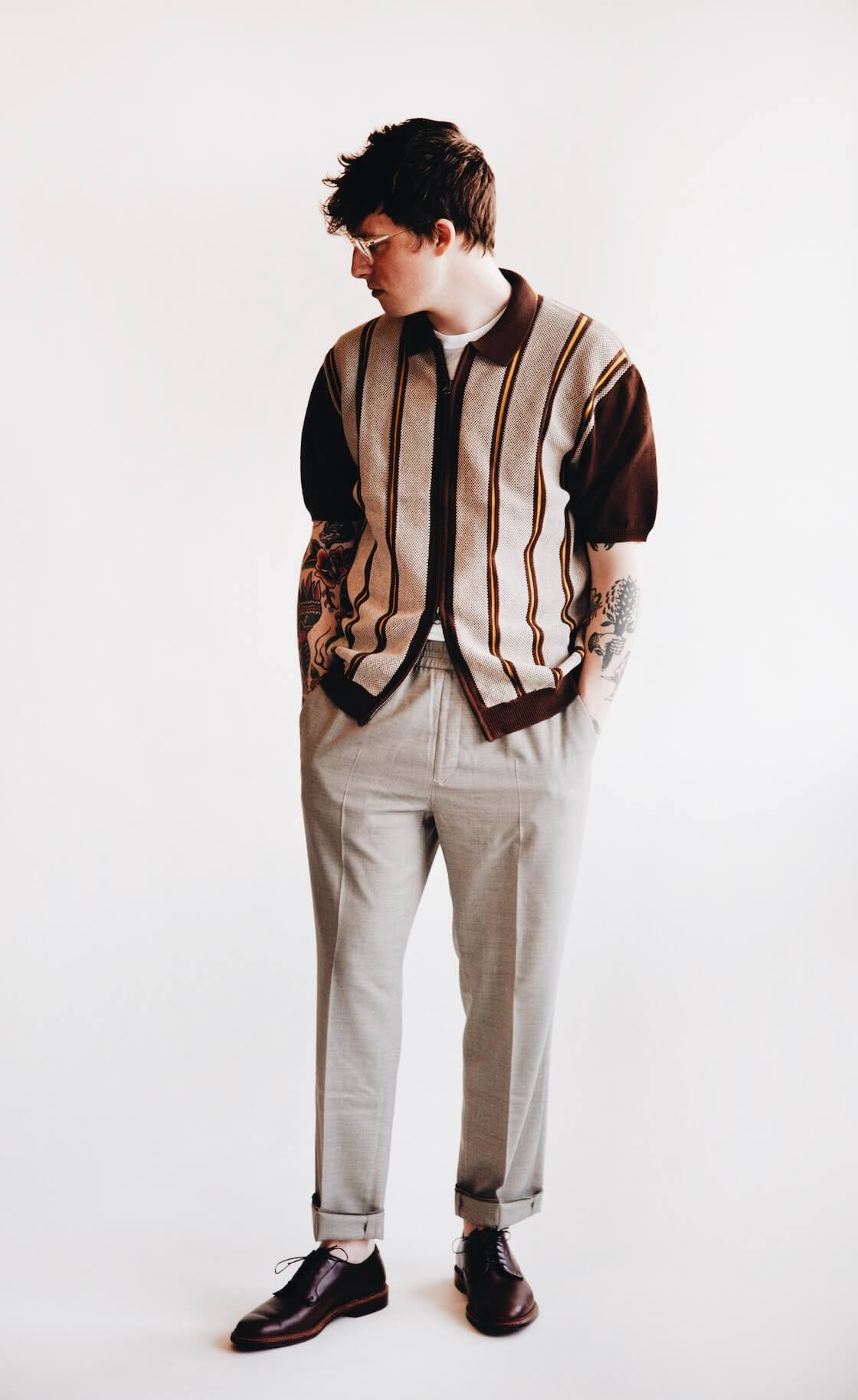 beams plus short sleeve zip knit, harmony paris paolo trouser and alden bluchers on body