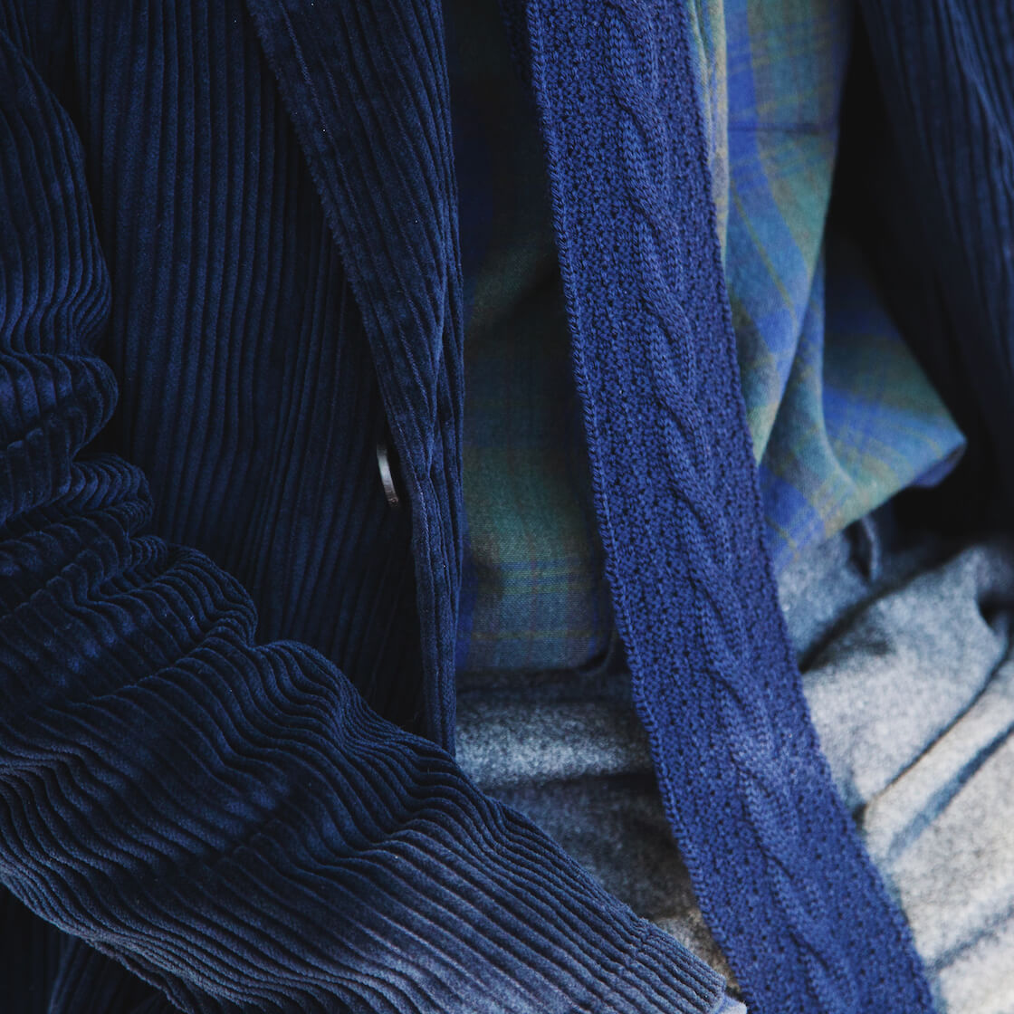 engineered garments pants, engineered garments cable knit tie, homecore jacket, and corridor shirt on body
