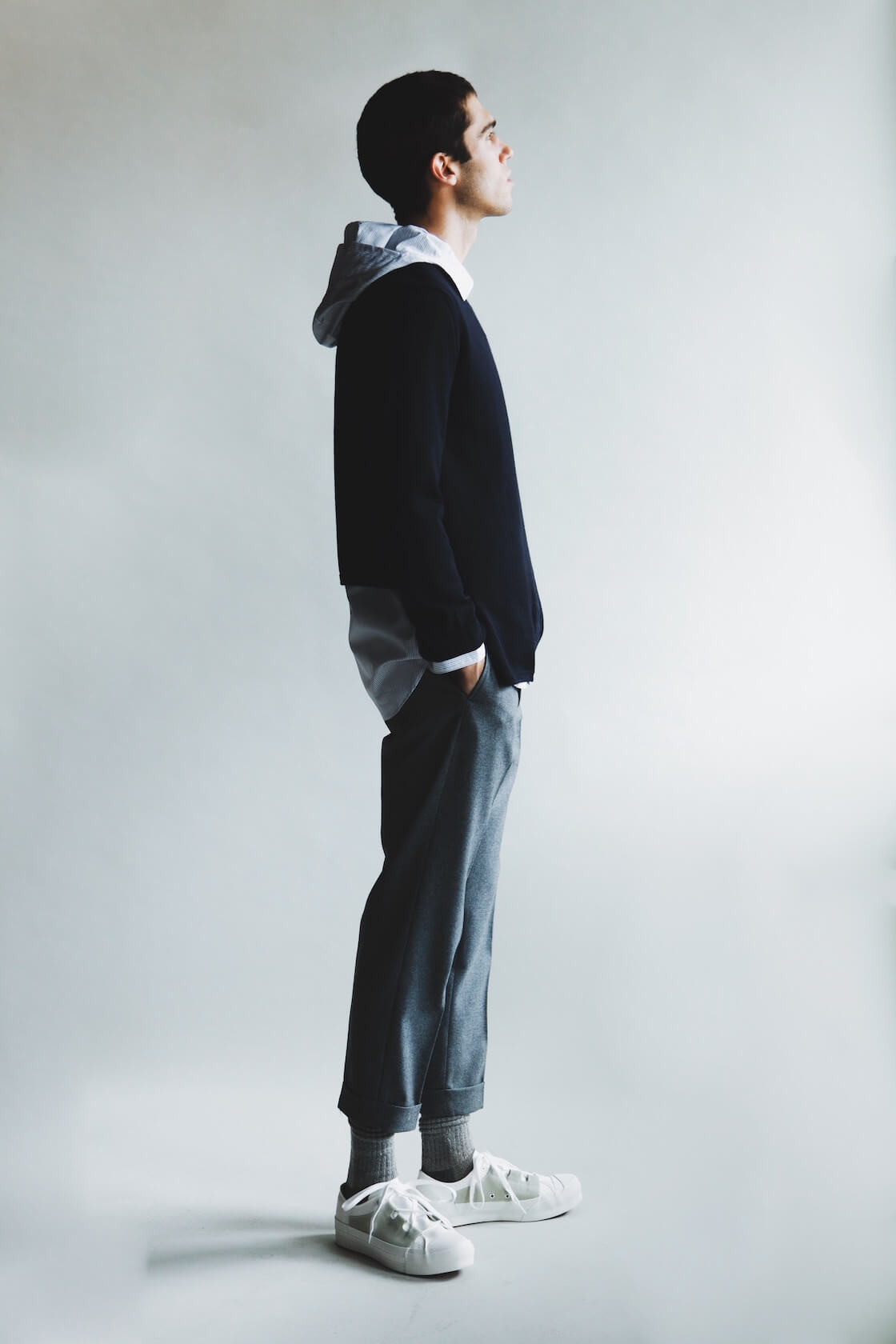 Comme des garcons shirt fully fashioned knit gauge 10 wool sweater and yarn dyed cotton poplin hood shirt, beams plus ivy flannel trousers and needles asymmetric ghillie sneakers on body