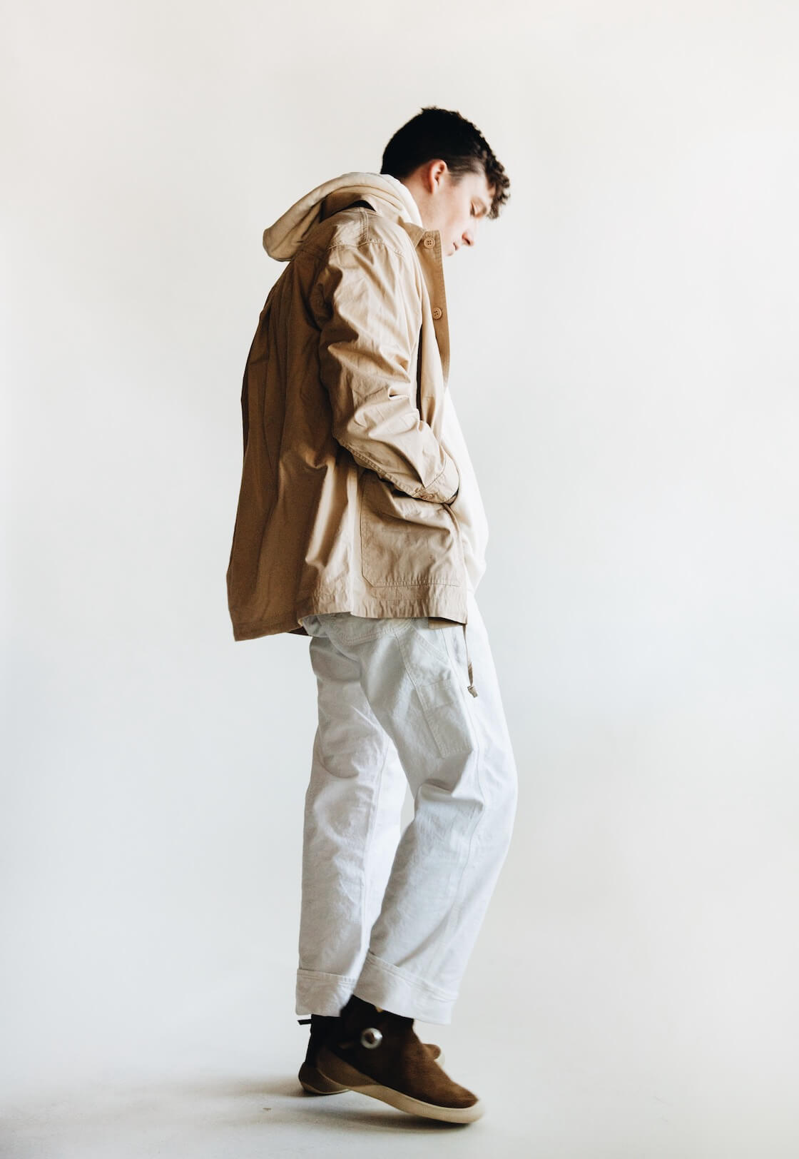 arpenteur corral jacket, feit tubular hooded sweatshirt, orslow painter pants and visvim gila moc mid II folk shoes on body