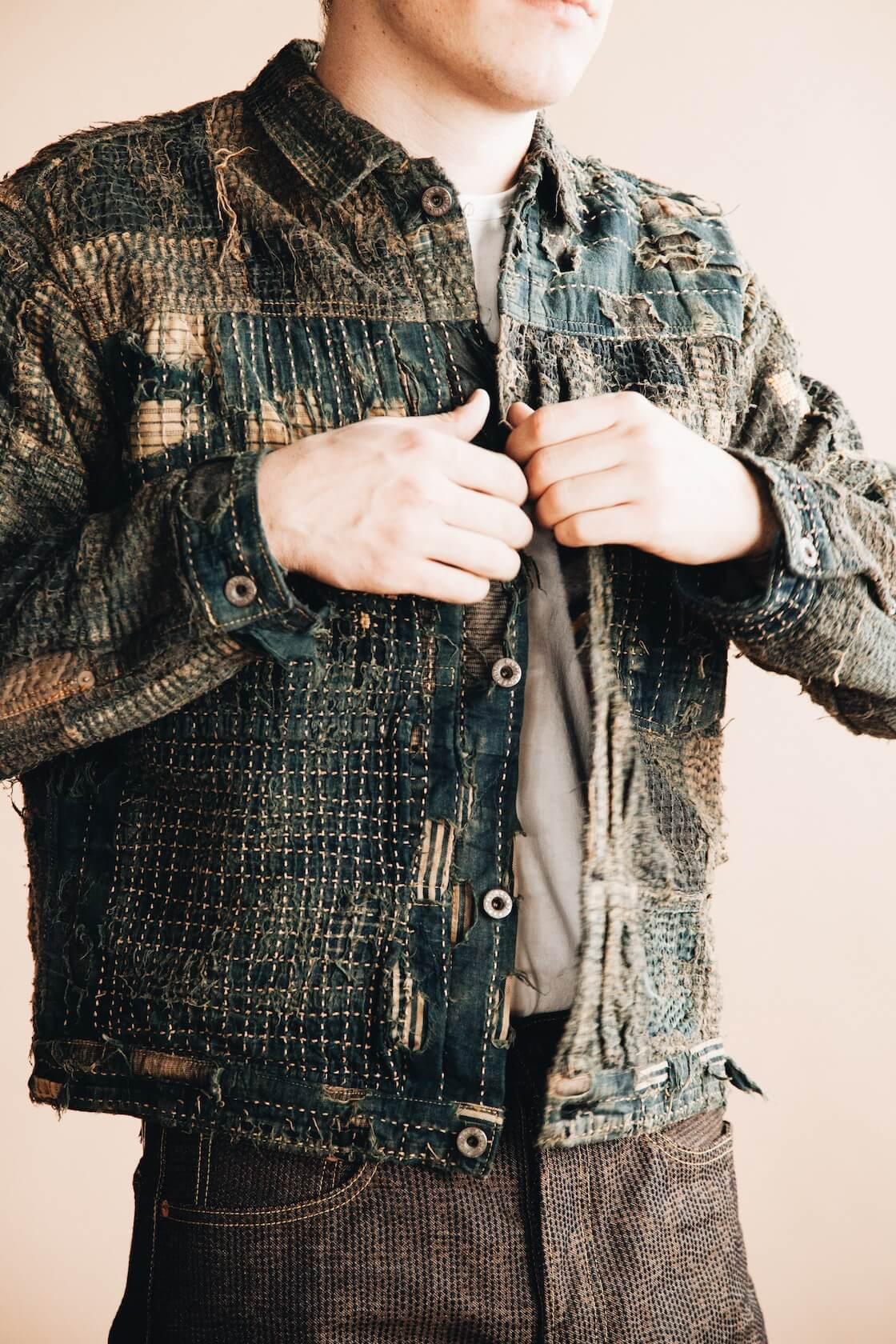 kapital boro first jacket and century denim pants on body