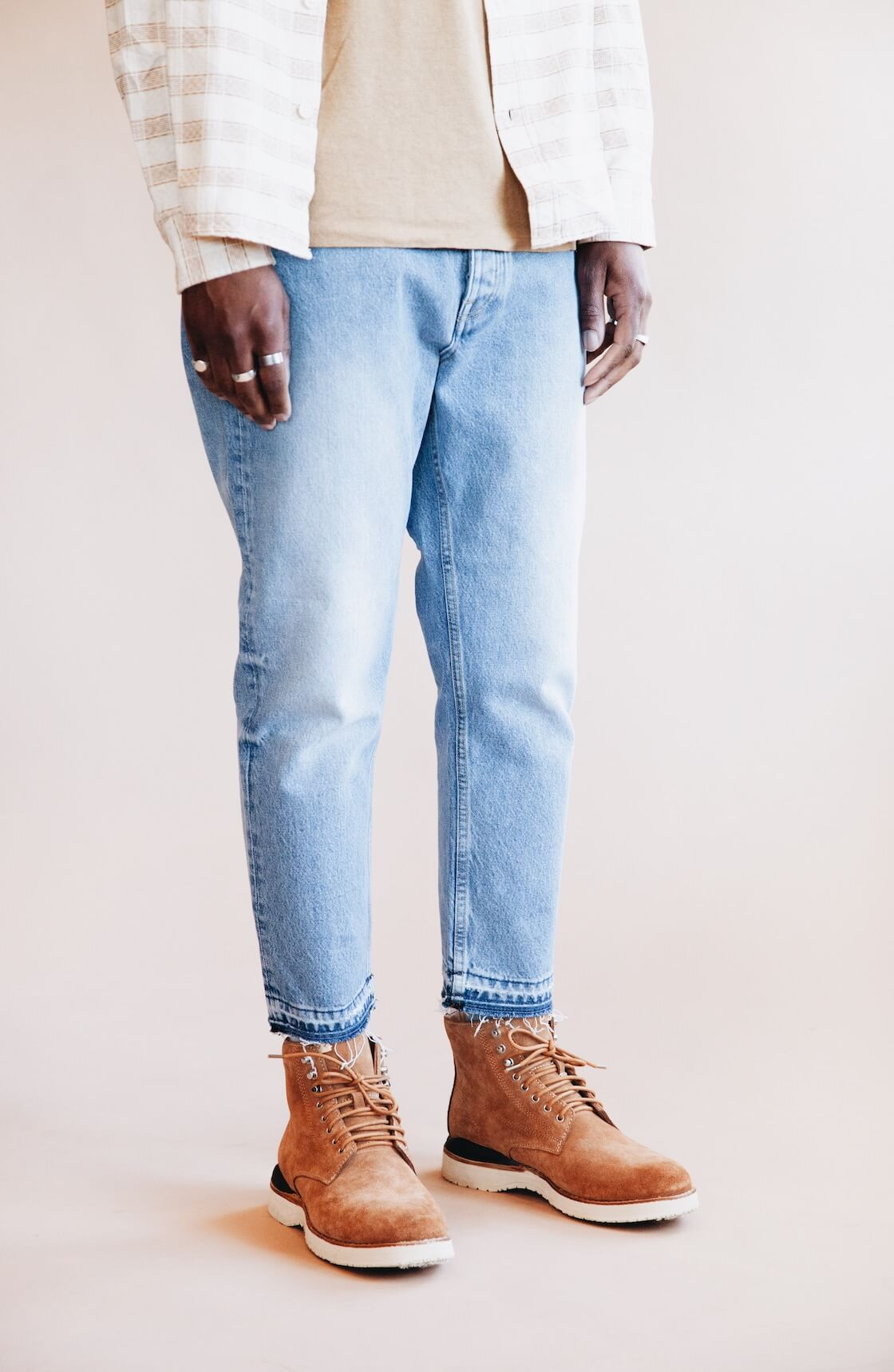 corridor nyc natural jacquard shirt, jungmaven baja pocket tee, harmony paris dorian jean and visvim virgil boots folk on body
