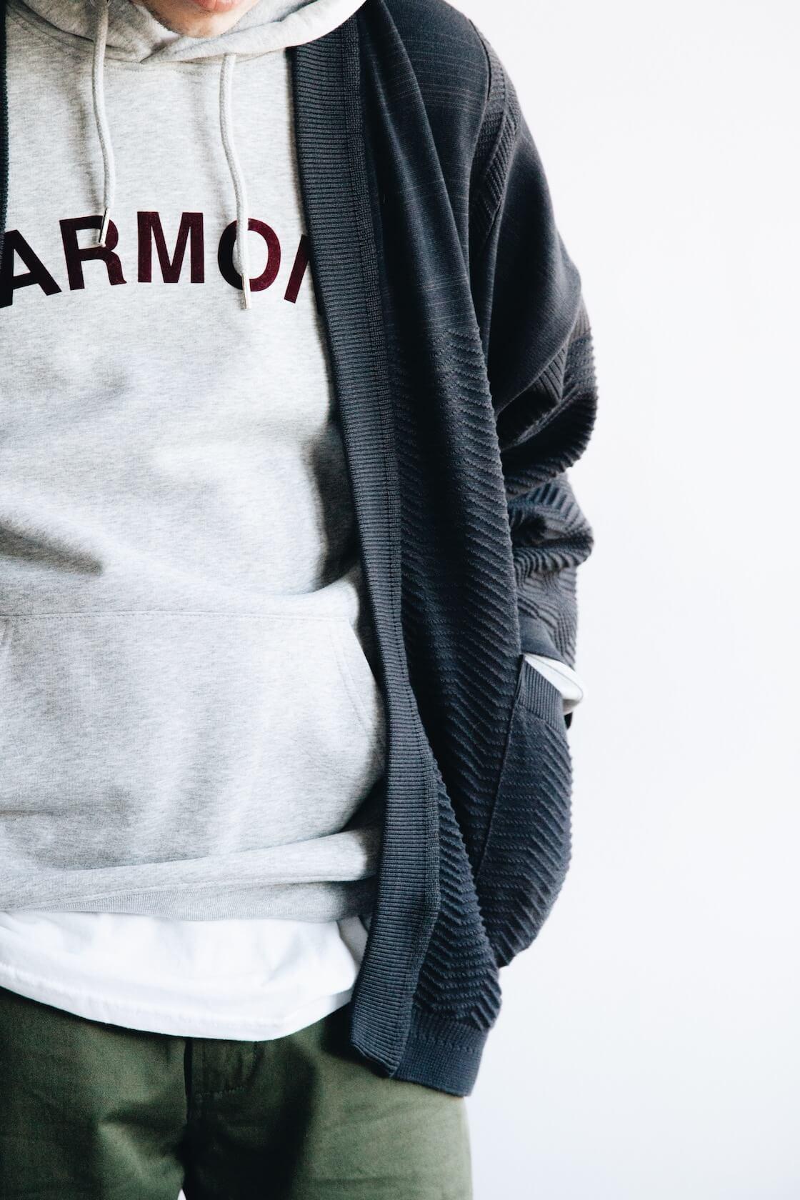 Shunto Hanten Knit from Yashiki, Sany Velour Sweatshirt from Harmony Paris, Military Chinos from Universal Works on body