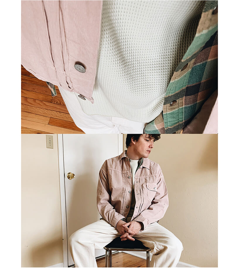remi relief light summer corduroy first jacket, RRL slim plain twill western shirt, lady white co raglan thermal shirt, engineered garments painter pant on body