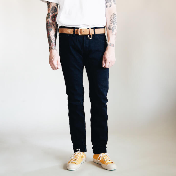 Tanuki IDHT Double Indigo 15oz jeans on body