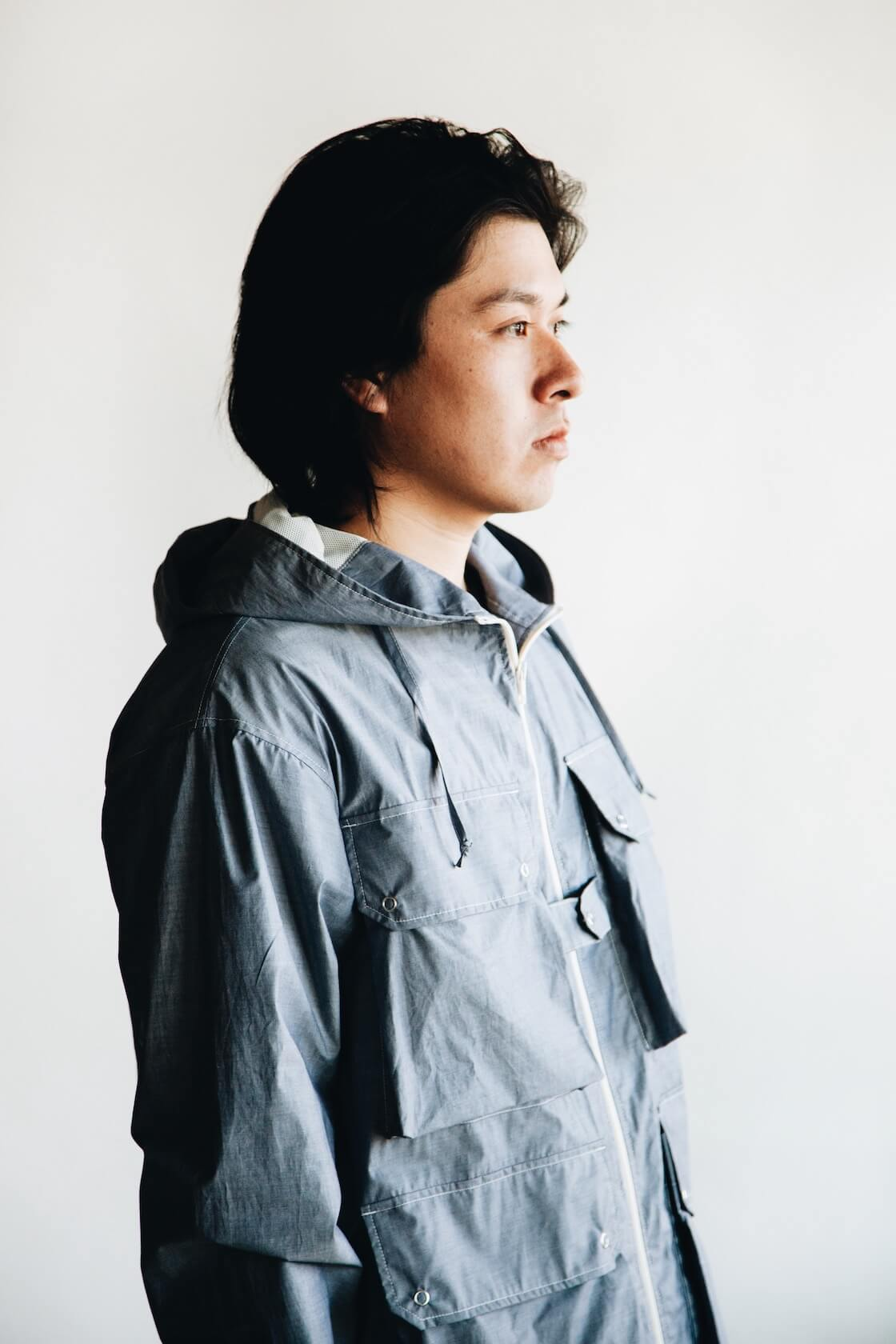 arpenteur reporter jacket, knickerbocker tube knit tee, engineered garments leisure pants on body