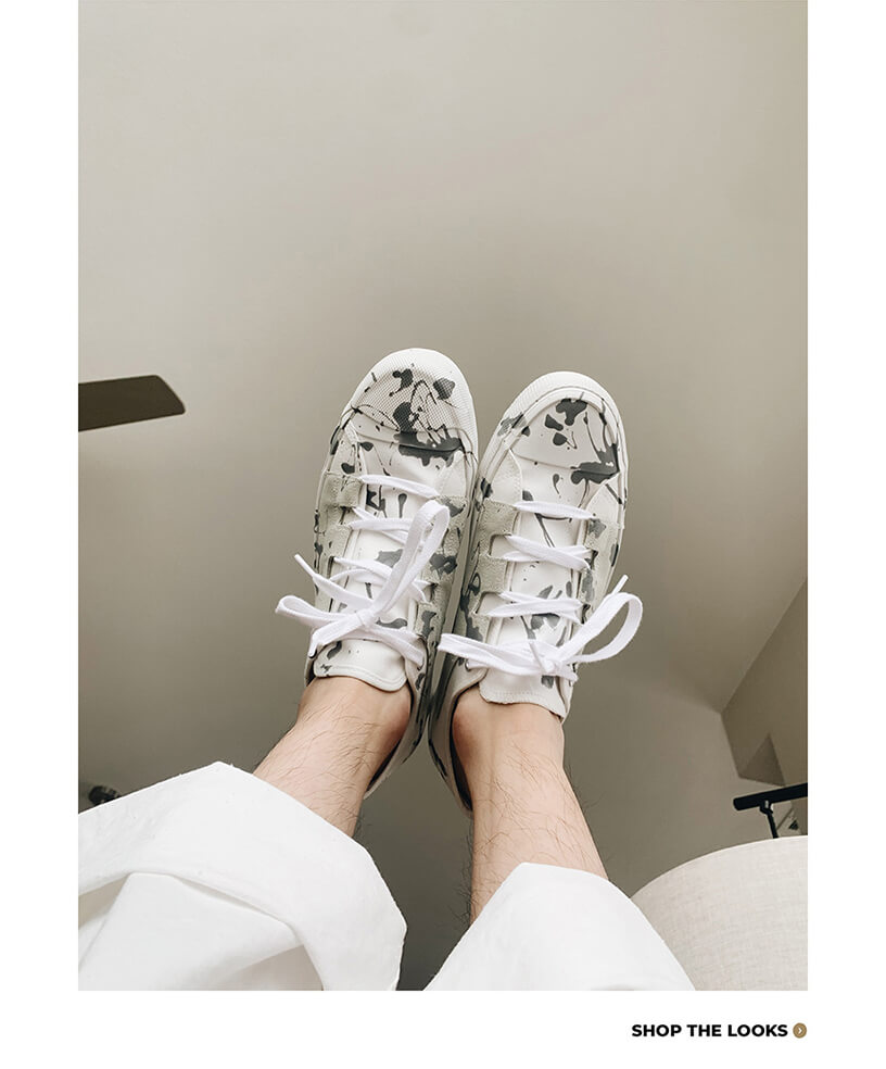 orslow painter pants and needles japan asymmetric ghillie sneakers on body