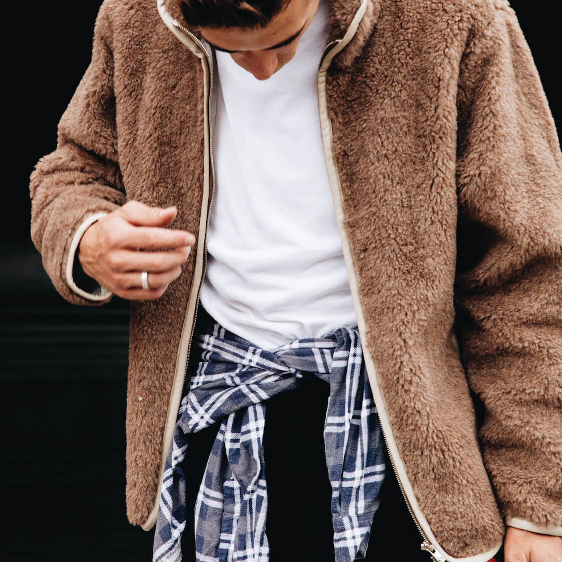 Needles clothing japan shaggy shearling jacket on body 2