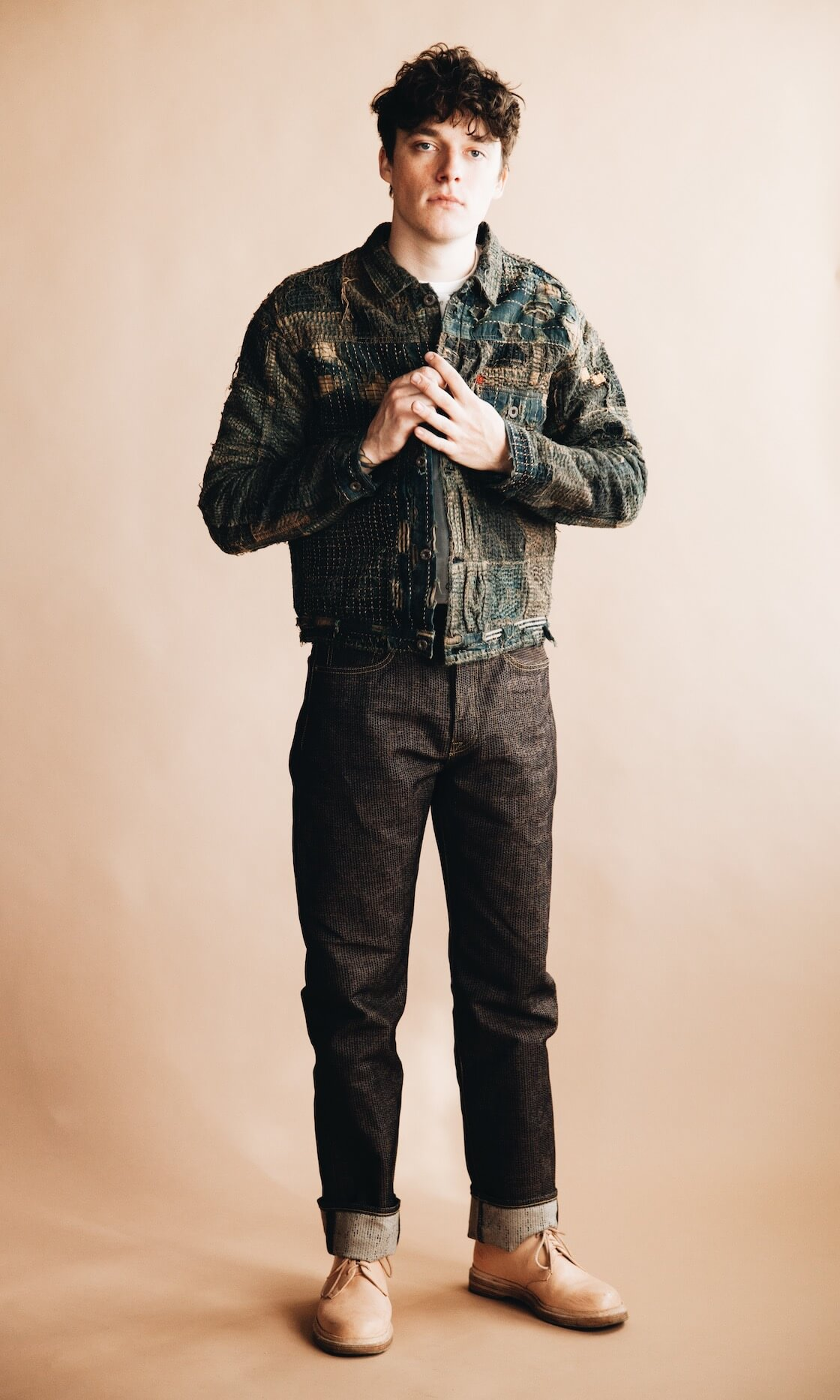 kapital boro 1st jacket, century denim pants, and hender scheme mip 21 shoes on body