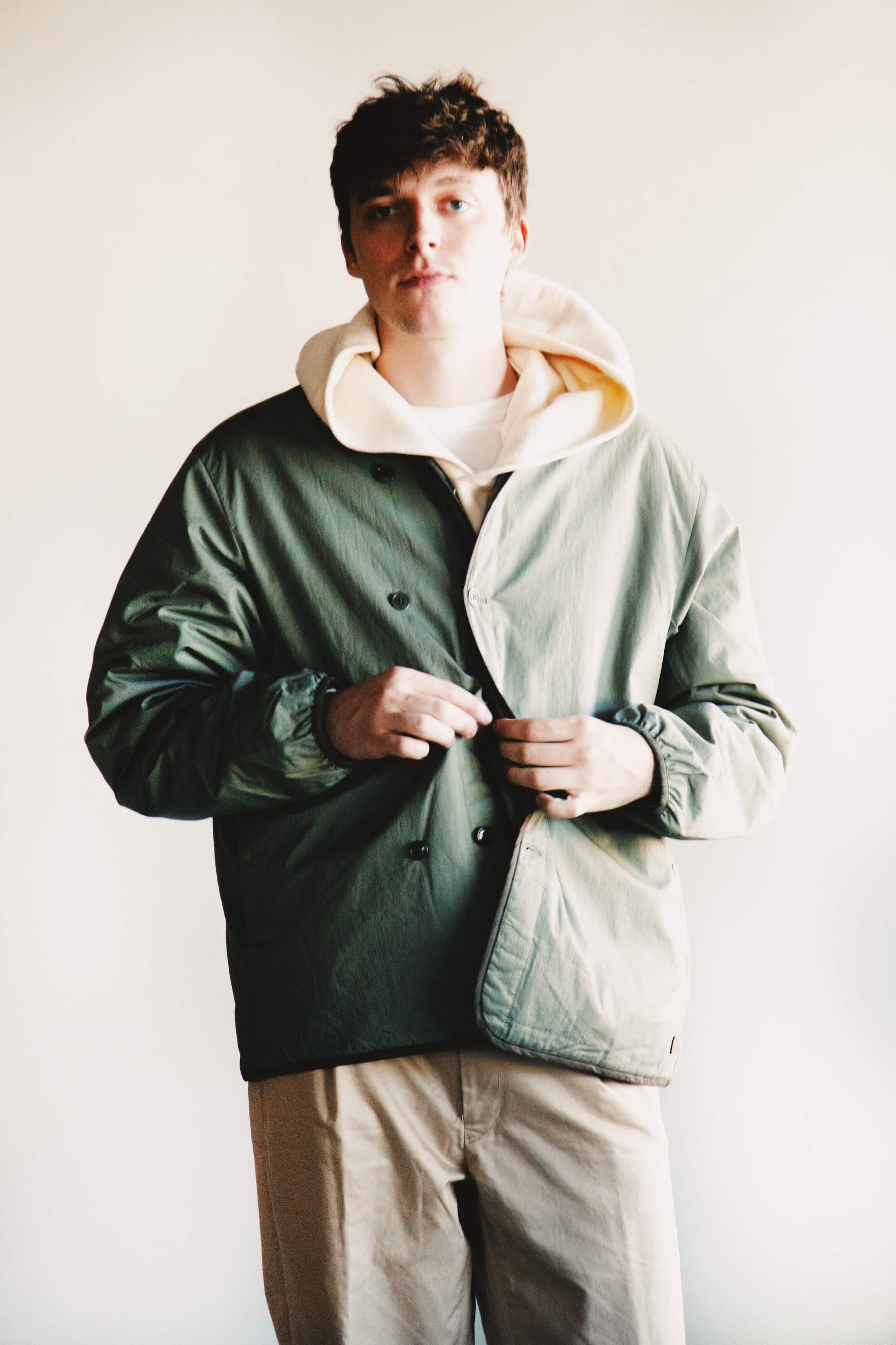 Nanamica down cardigan, visvim amplus hoodie po, beams plus single pleat twill pants on body