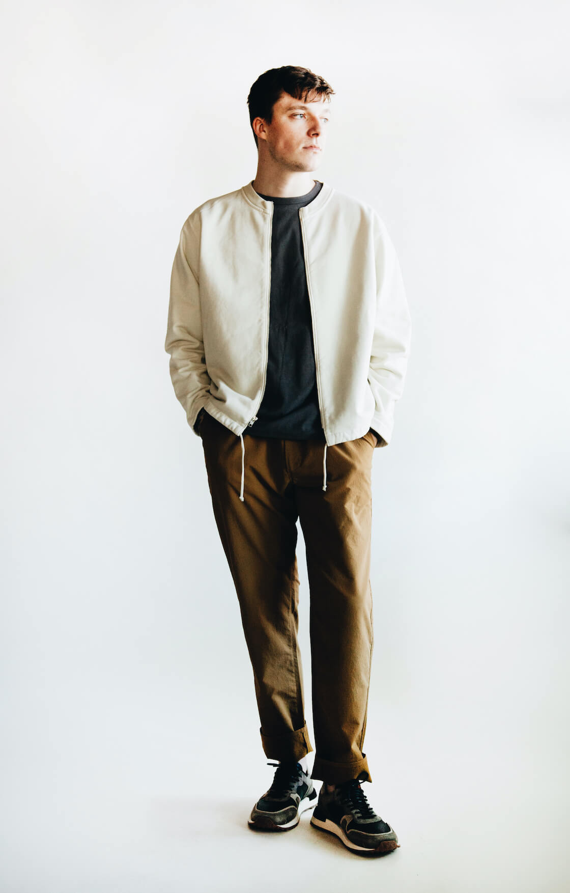 lady white co zip cardigan, corridor nyc t-shirt, nanamica club pants and buttero futura sneakers on body