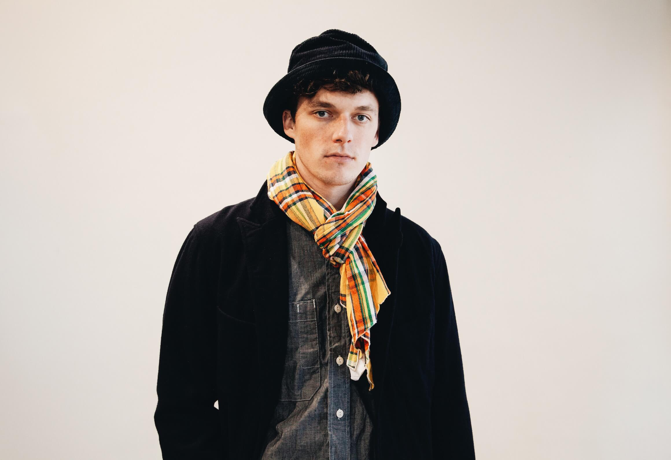 engineered garments new bedford jacket, bucket hat, long scarf, and work shirt on body