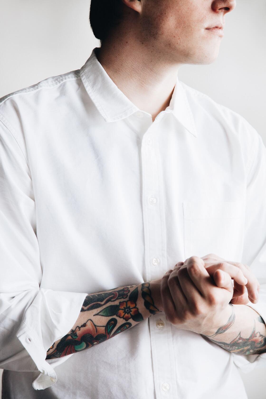 canoe club x corridor white oxford shirt on body