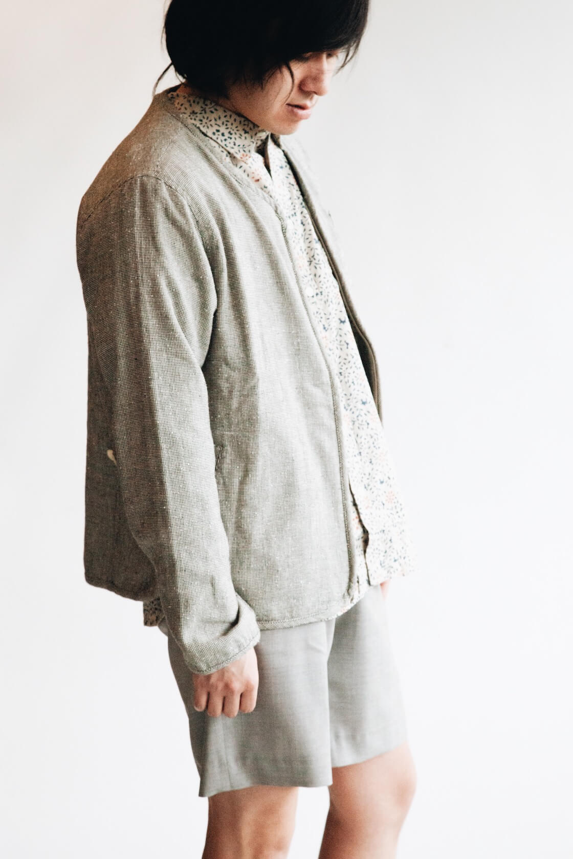 Collarless Jacket from Corridor, Natural Handblock Floral shirt from Corridor, Pavel Trouser Shorts from Harmony Paris on body