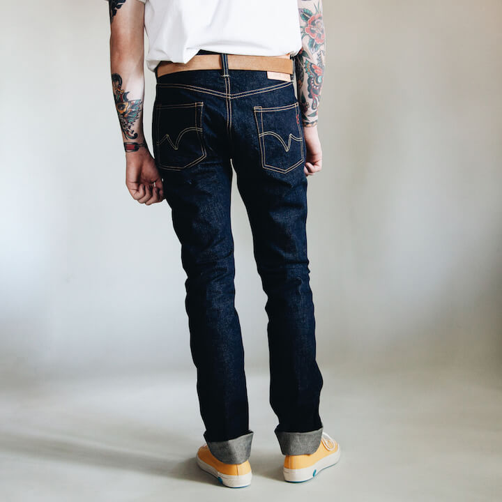 Iron Heart 555 16oz. Classic Denim jeans on body