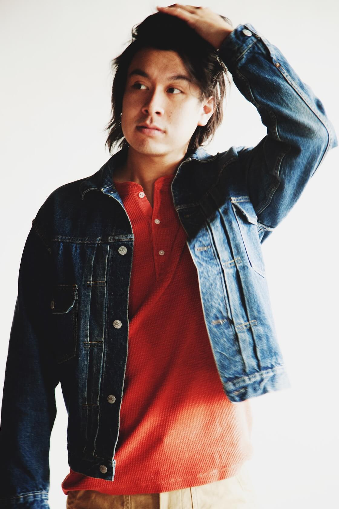 orslow 50's denim jacket, RRL waffle knit henley shirt, orslow slim fit fatigue pants on body