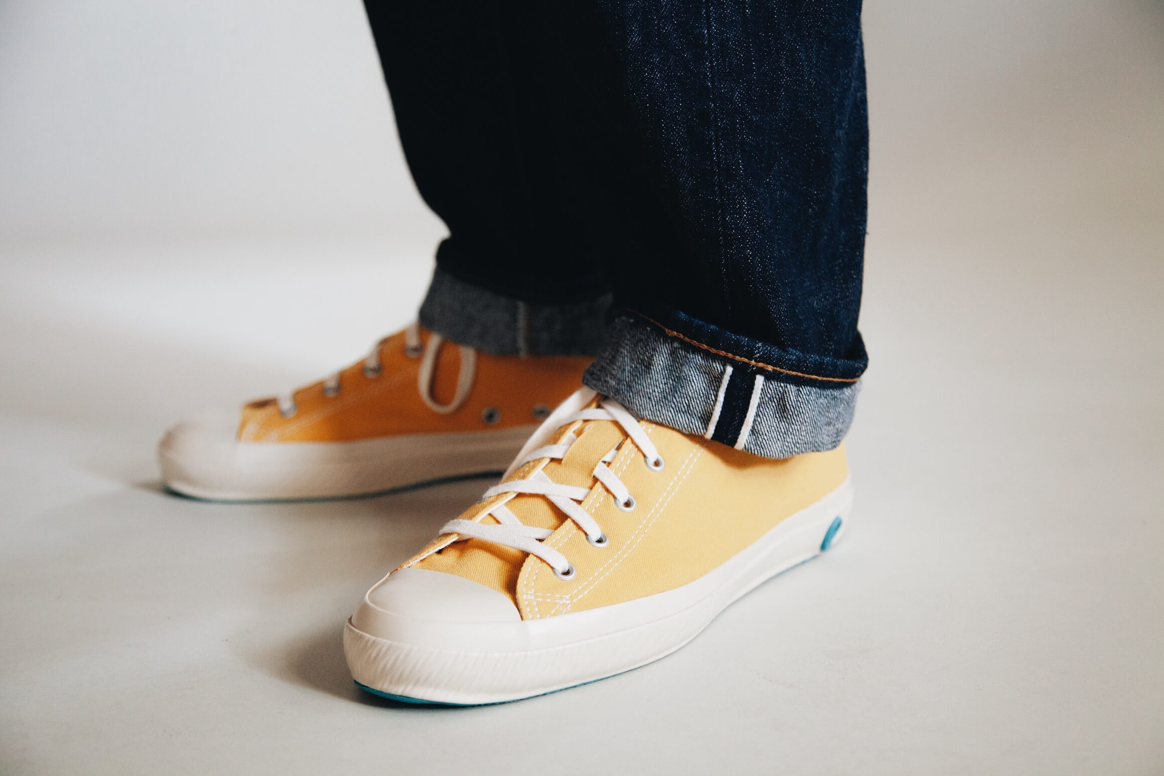 orSlow 105 Standard One Wash jeans cuff detail and shoes like pottery sneakers on body