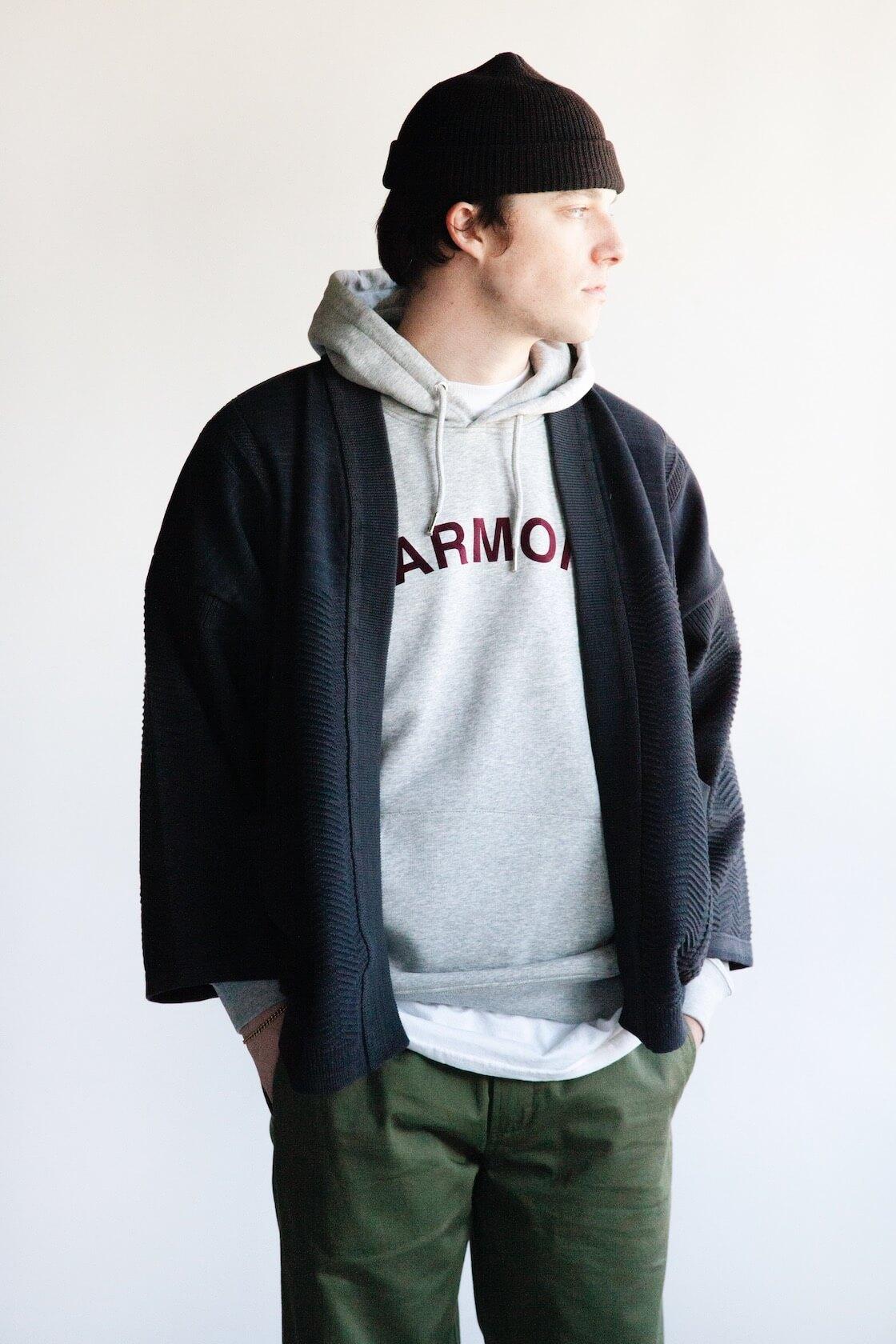 Shunto Hanten Knit from Yashiki, Sany Velour Sweatshirt from Harmony, Military Chinos from Universal Works on body