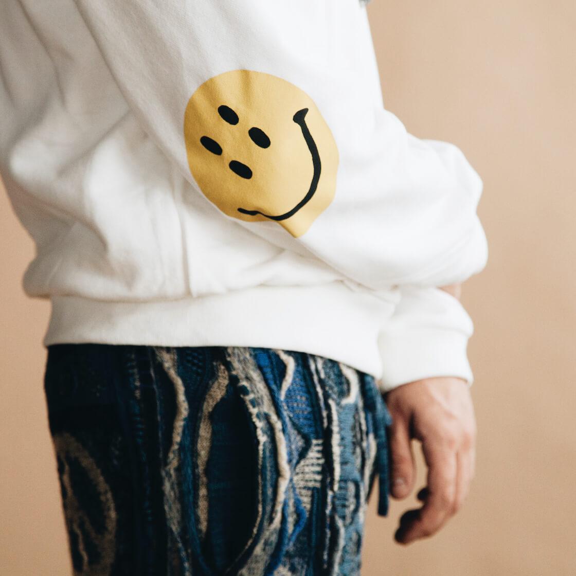kapital eco jersey (smilie elbow) sweatshirt and 7g knit boro gaudy pants on body