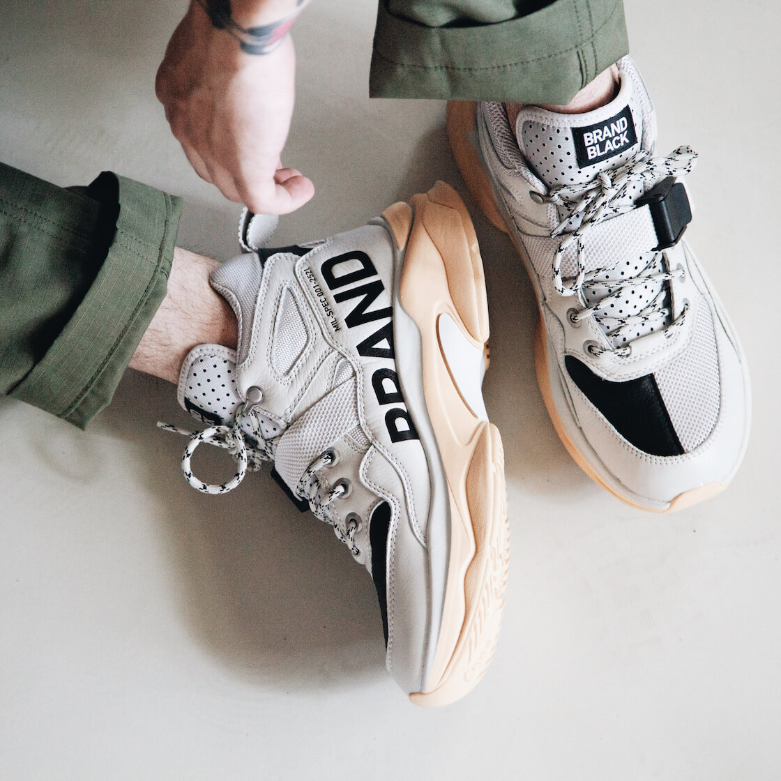 brandblack saga milspec shoes on body