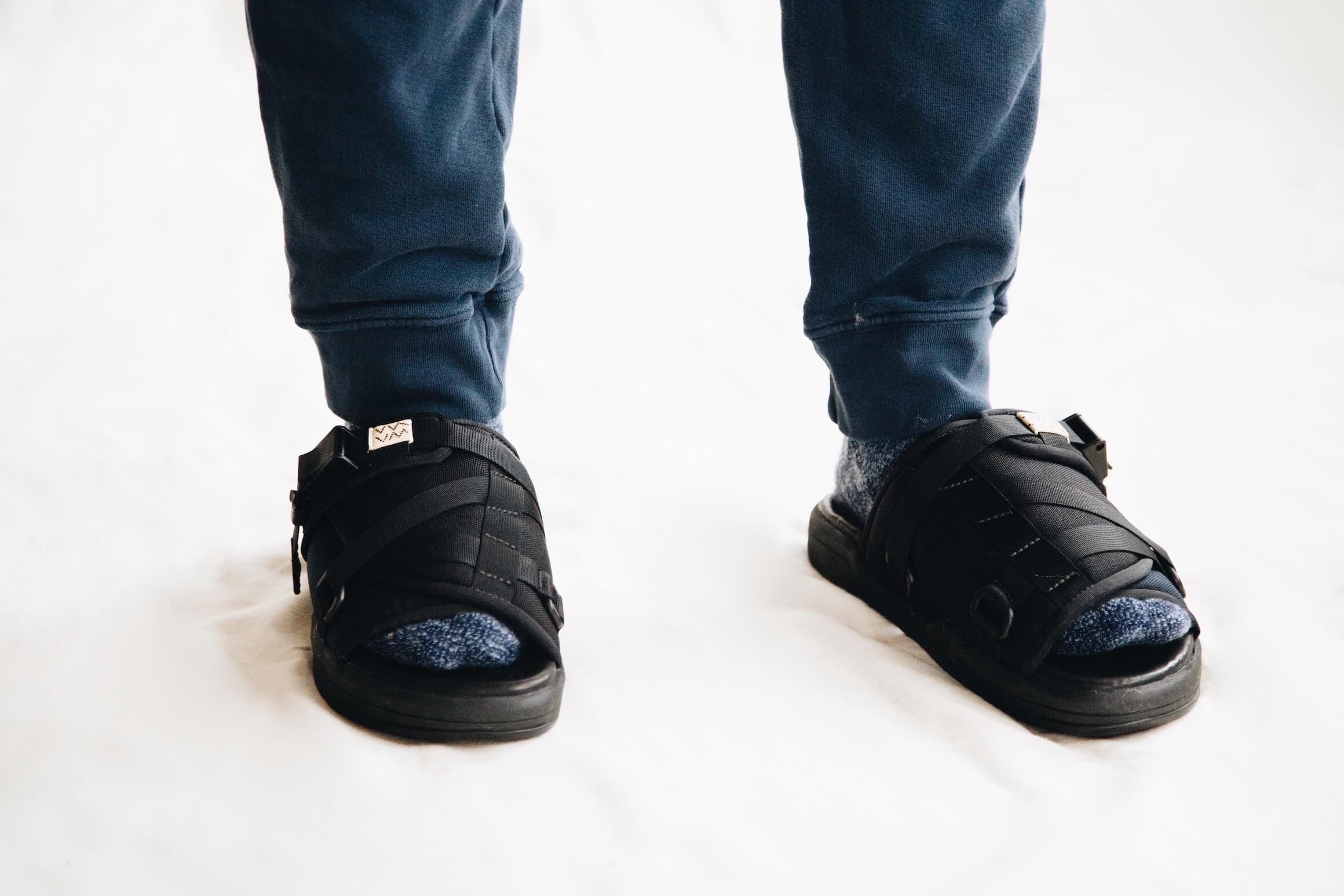 visvim christo 2-tone sandals on body