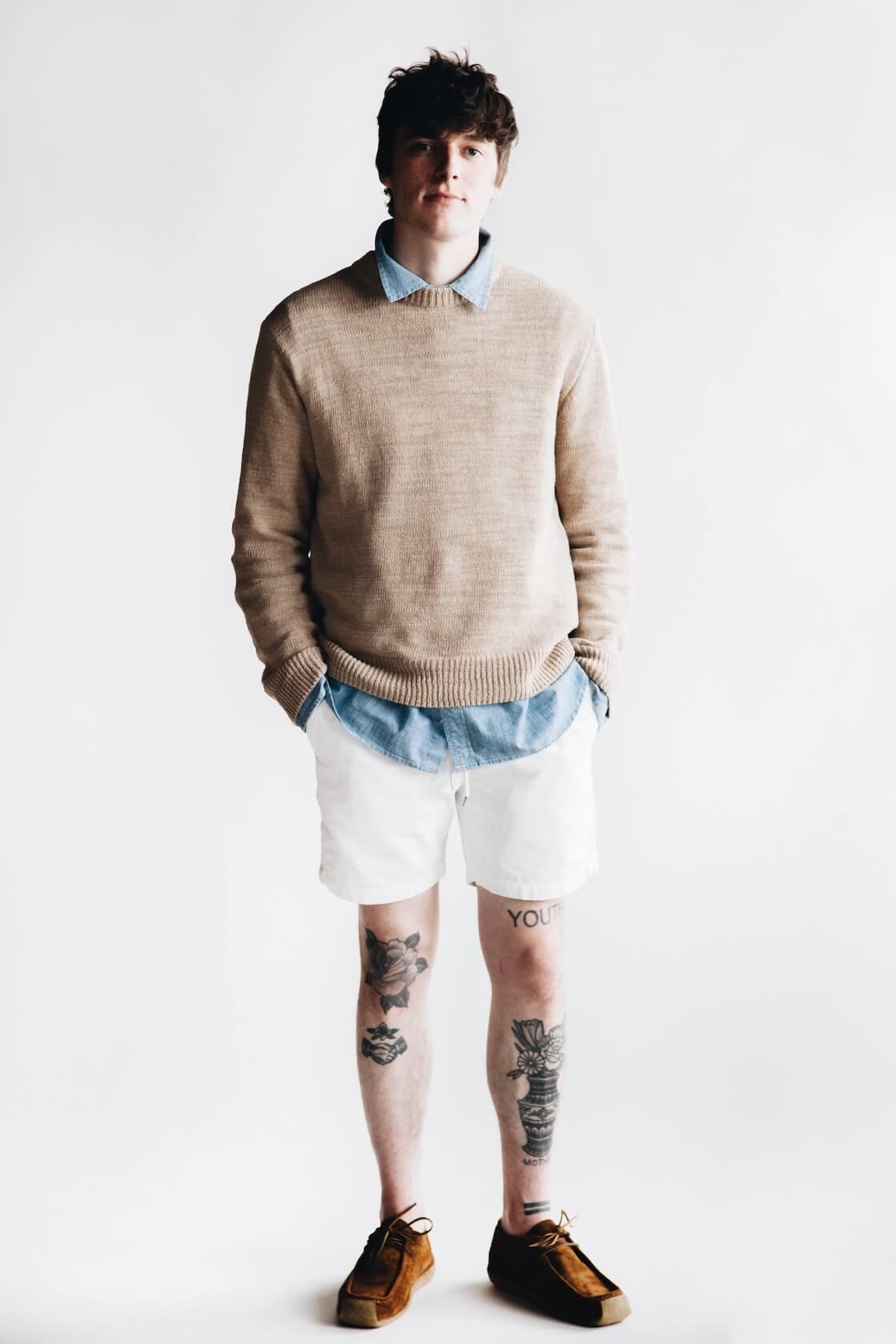 canoe club x corridor nyc blue chambray shirt, universal works beach shorts and yuks type 4 mocs on body