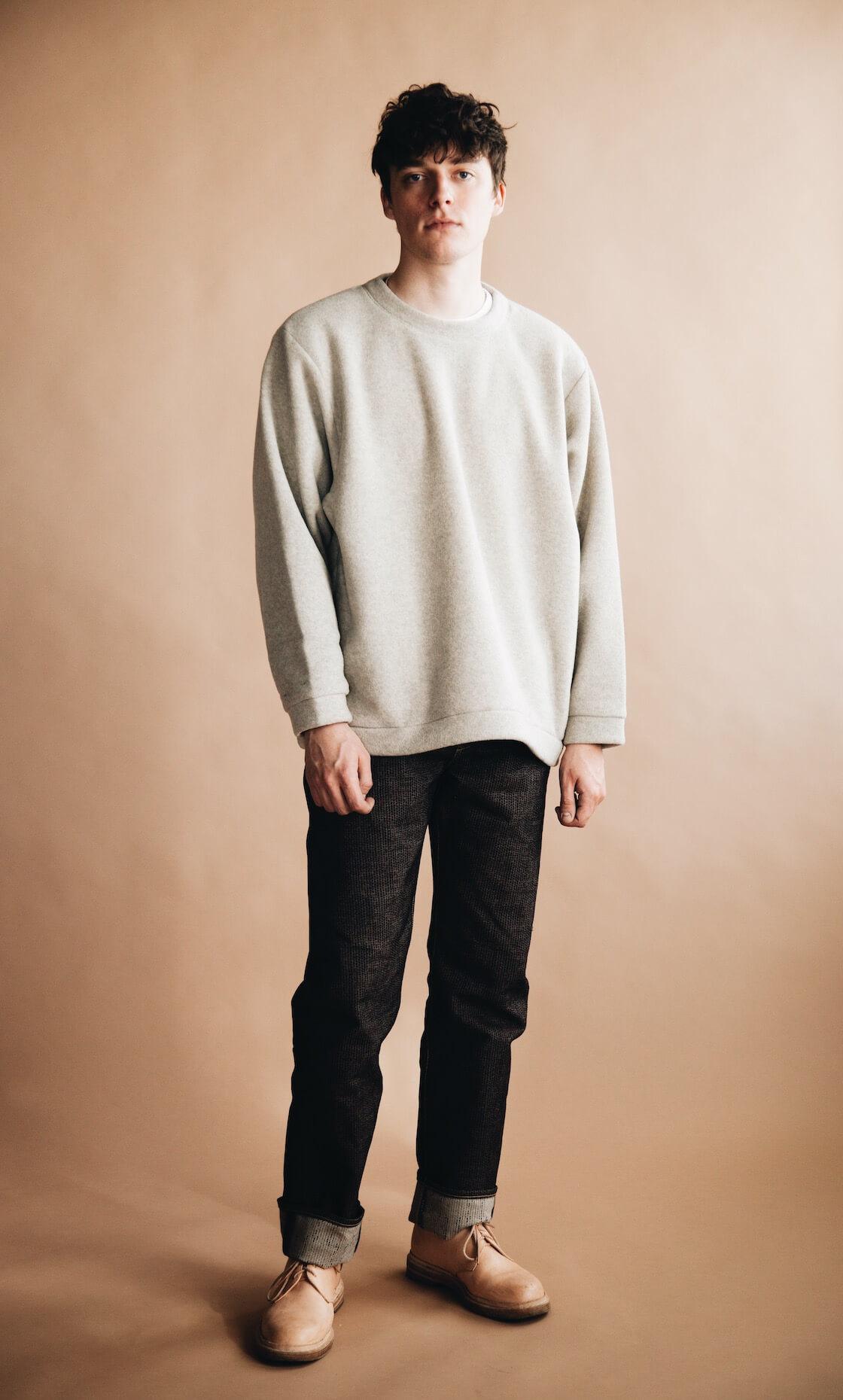 kapital reverse fleece big crew sweatshirt, century denim pants, and hender scheme mip 21 shoes on body