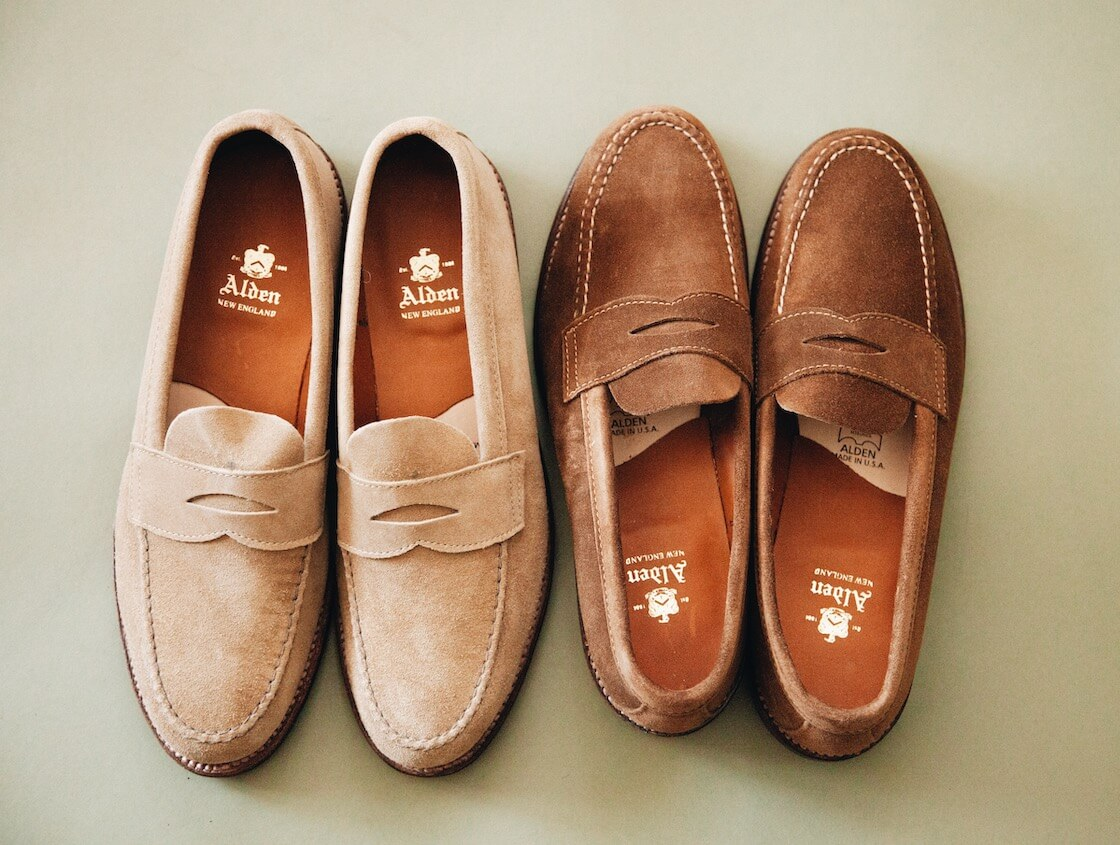 alden penny loafers in tan and brown suede