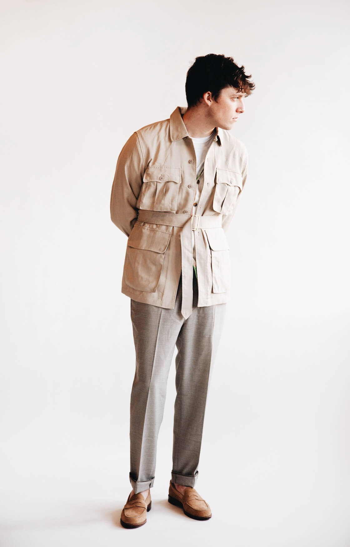 beams plus mil tropical jacket, beams plus stripe cardigan, harmony paris paolo trousers and alden penny loafers on body