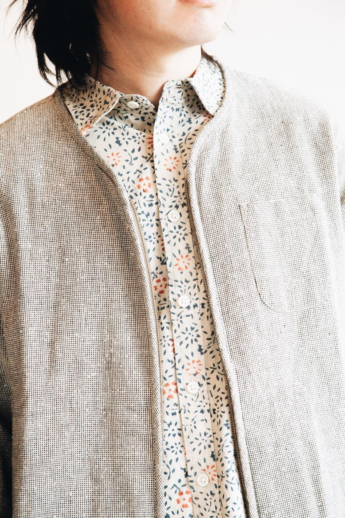Collarless Jacket from Corridor, Natural Handblock Floral shirt from Corridor on body