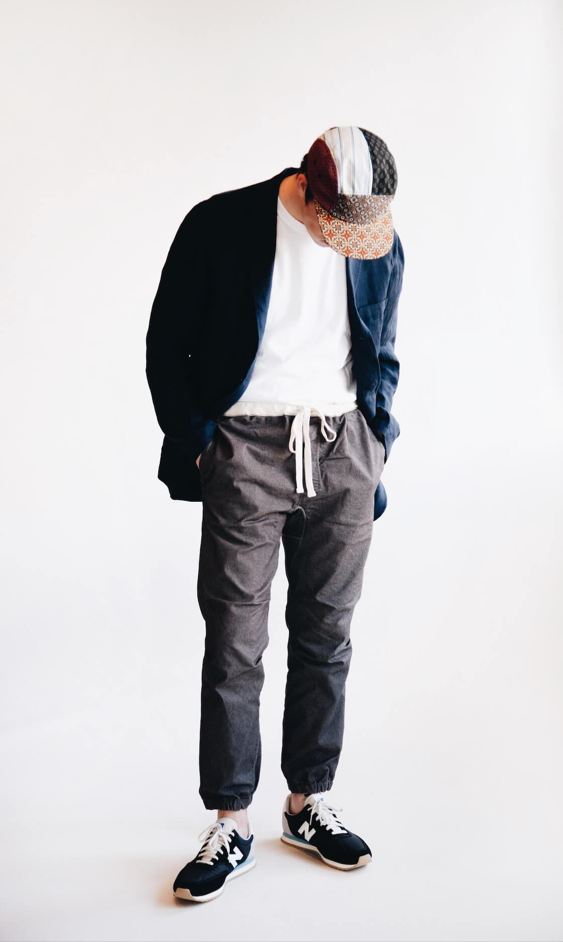 Beams plus 3 button shirt jacket, beams plus gym pants, beams plus 5 panel cap and new balance shoes on body