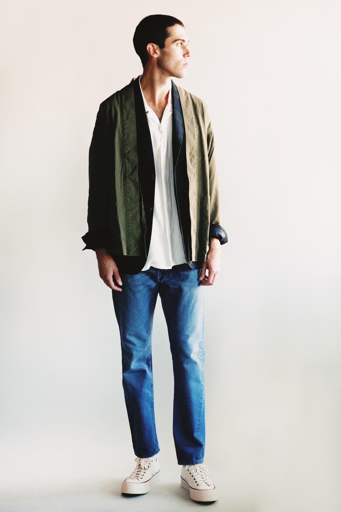 visvim lhamo shirt mil, beams plus flannel jacket, orslow 107 ivy denim and visvim skagway lo canvas shoes on body