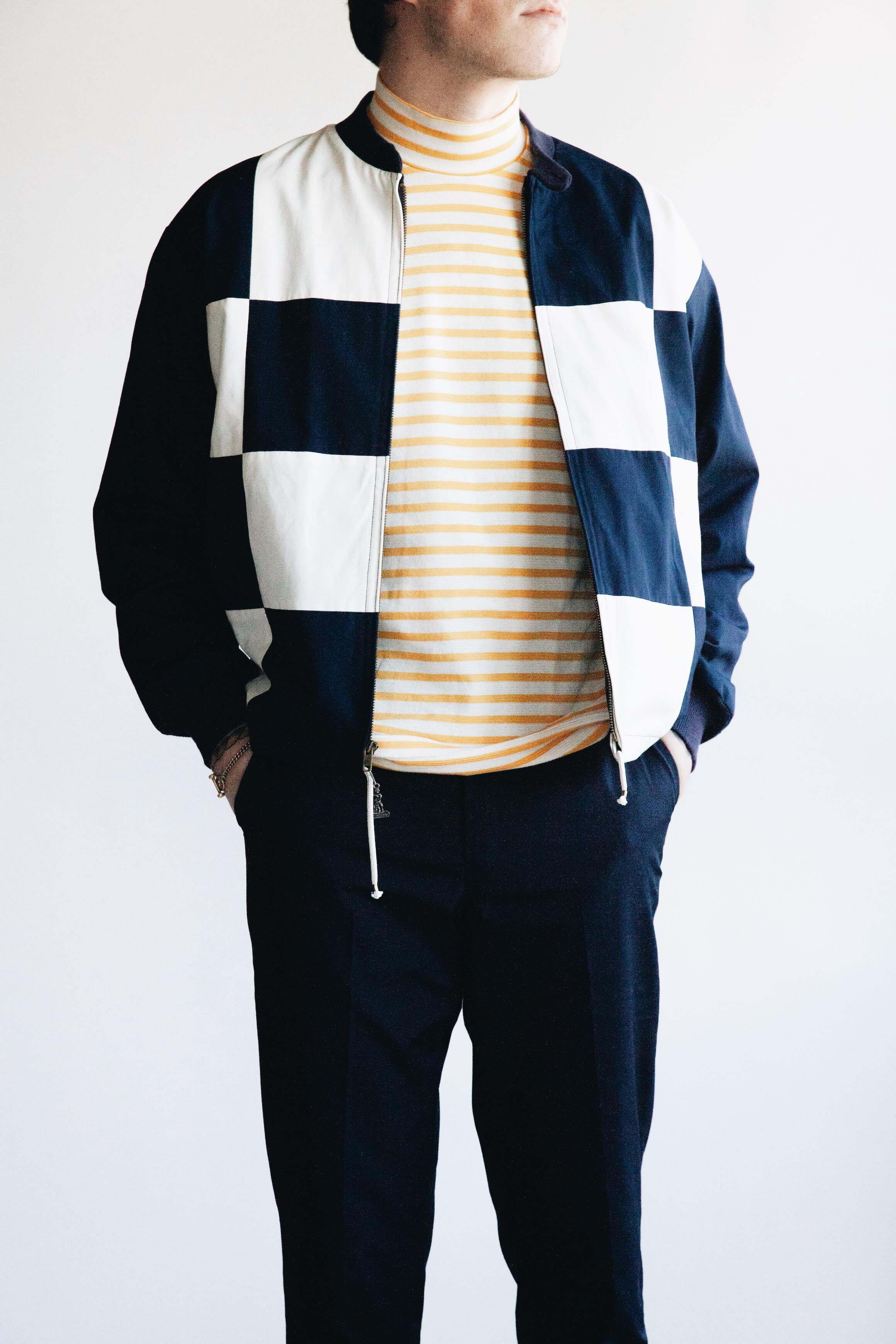 mighty mac boat jacket, anatomica ss mock neck tee, anatomica trim fit pant on body