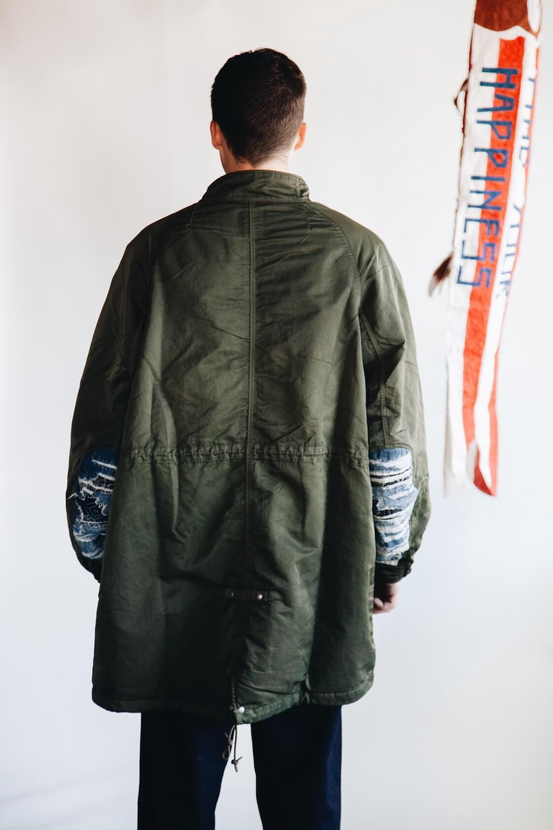 visvim indigo camping trading post find your happiness Six Five Fishtail Parka, Jumbo T Crash, SS Hakama Pants and Skagway Hi G Shoes on body