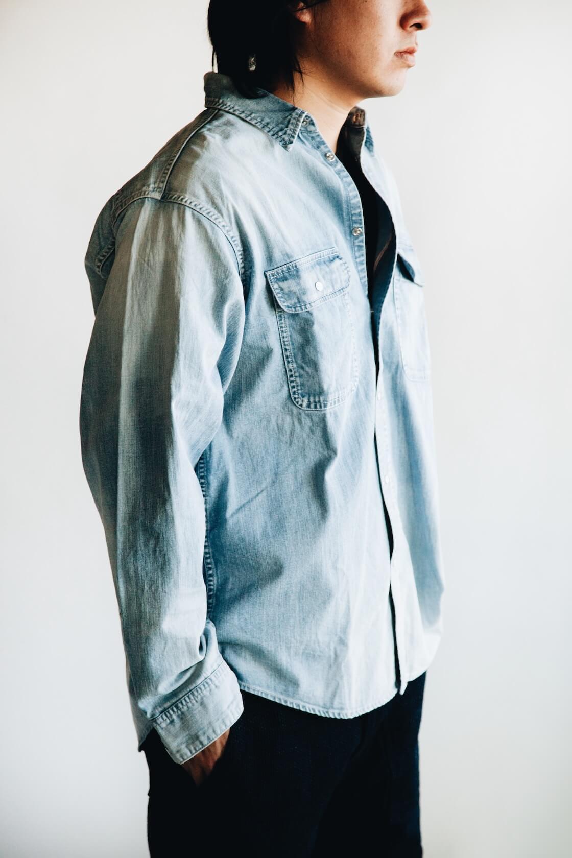 visvim ss handyman shirt, knickerbocker tube knit tee, pure blue japan selvedge sashiko denim utility shorts on body